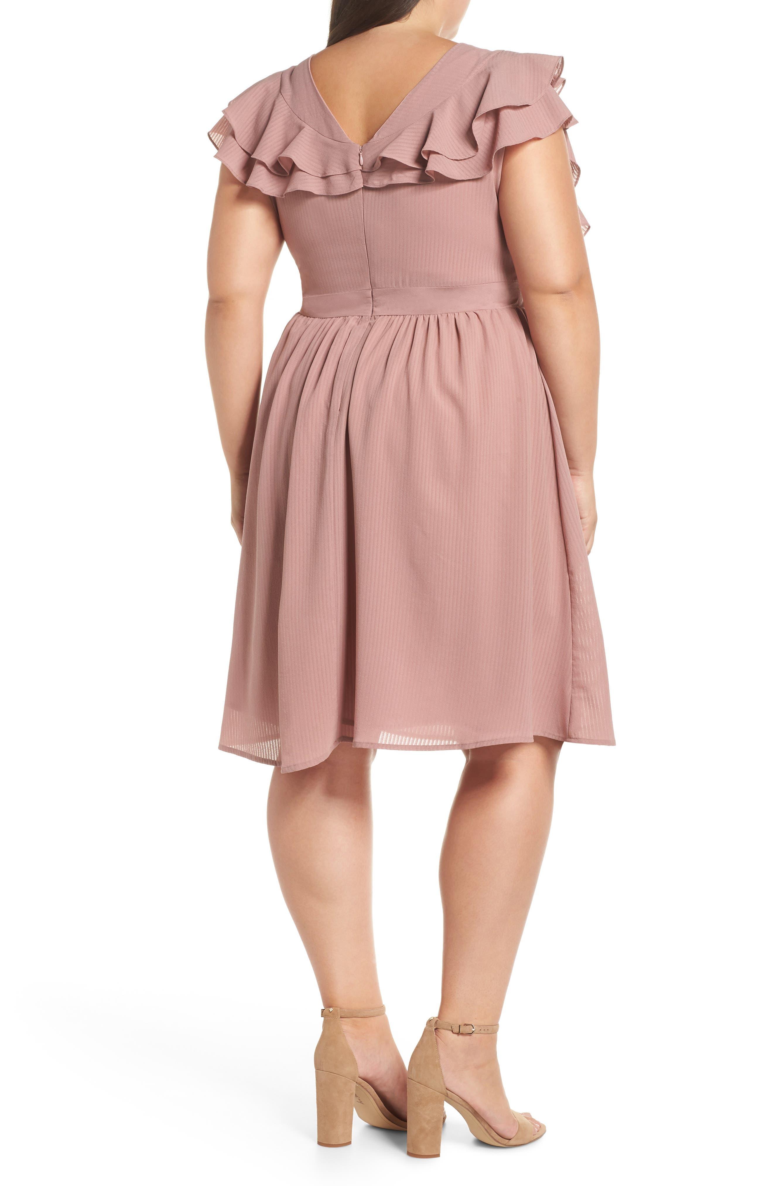 Ruffle Sleeve Fit & Flare Dress,                             Alternate thumbnail 2, color,                             681