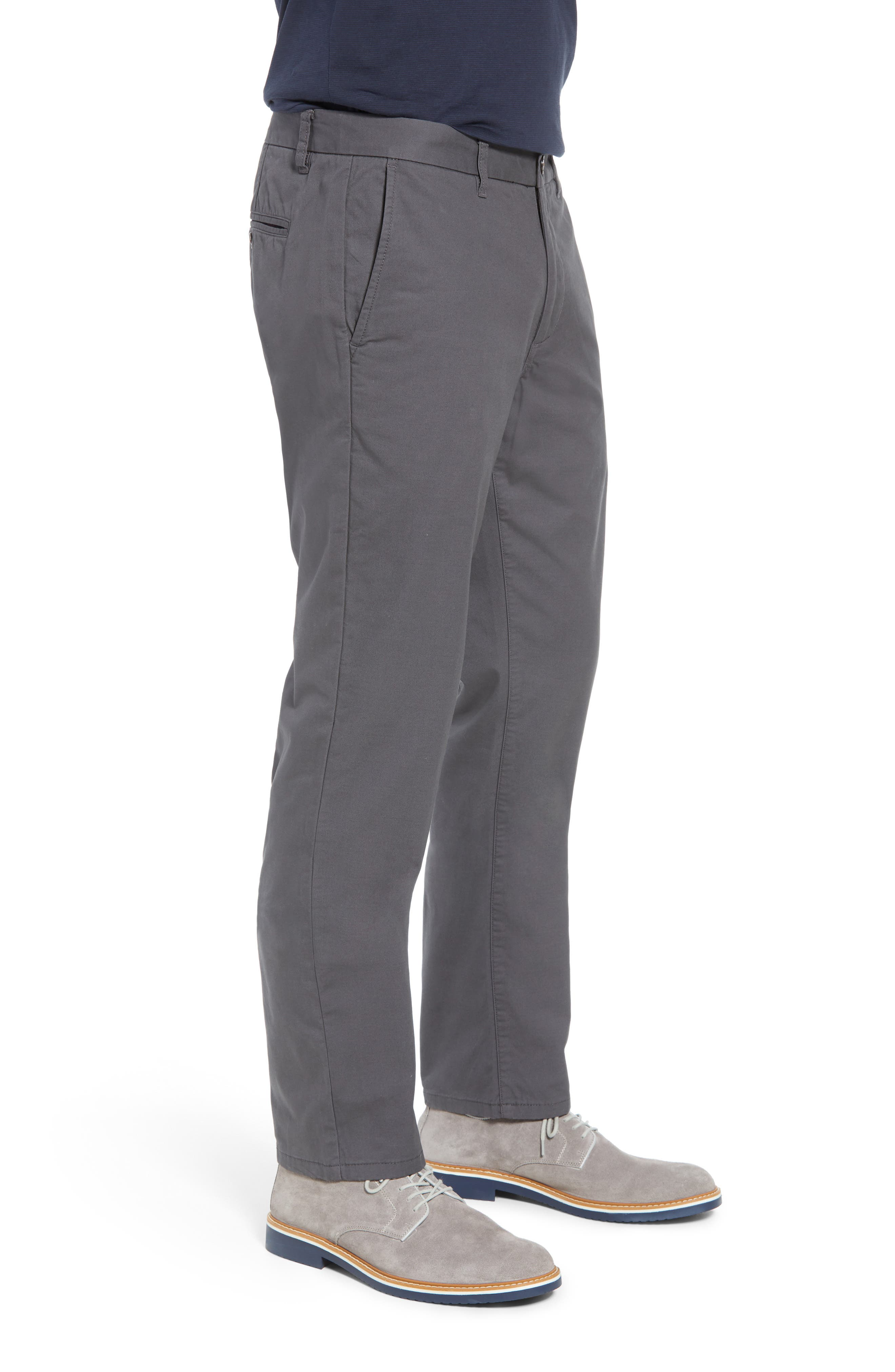Slim Fit Flannel Lined Chinos,                             Alternate thumbnail 3, color,                             COAL GREY