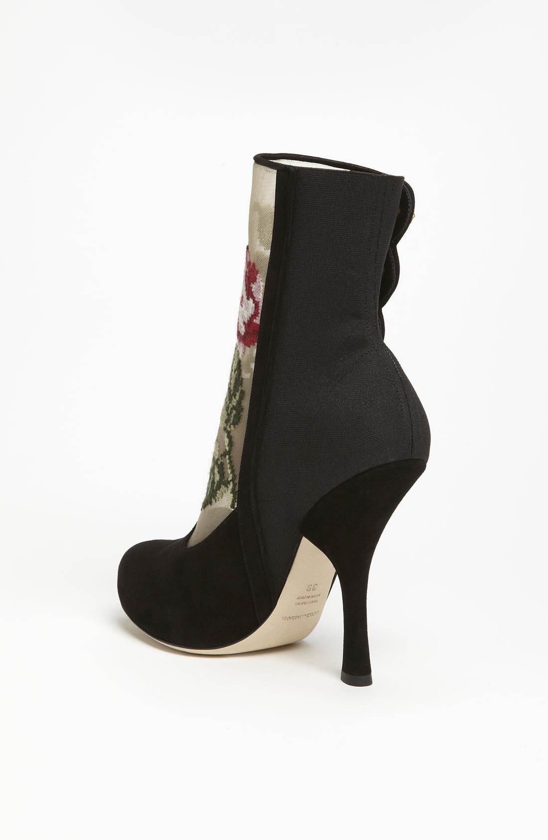 Tapestry Suede Bootie,                             Alternate thumbnail 4, color,                             001