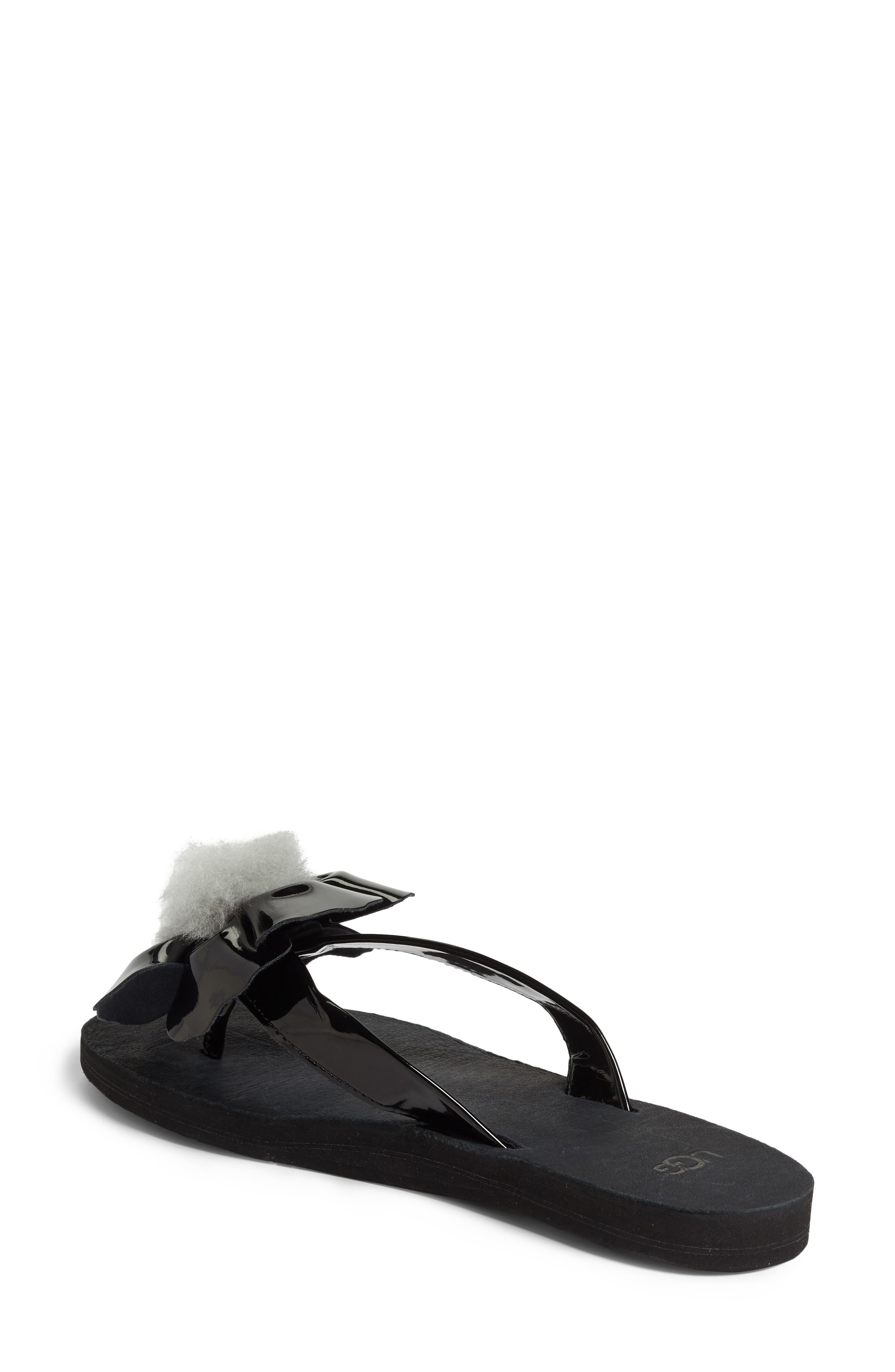 Poppy Genuine Shearling Pompom Flip Flop,                             Alternate thumbnail 2, color,                             001