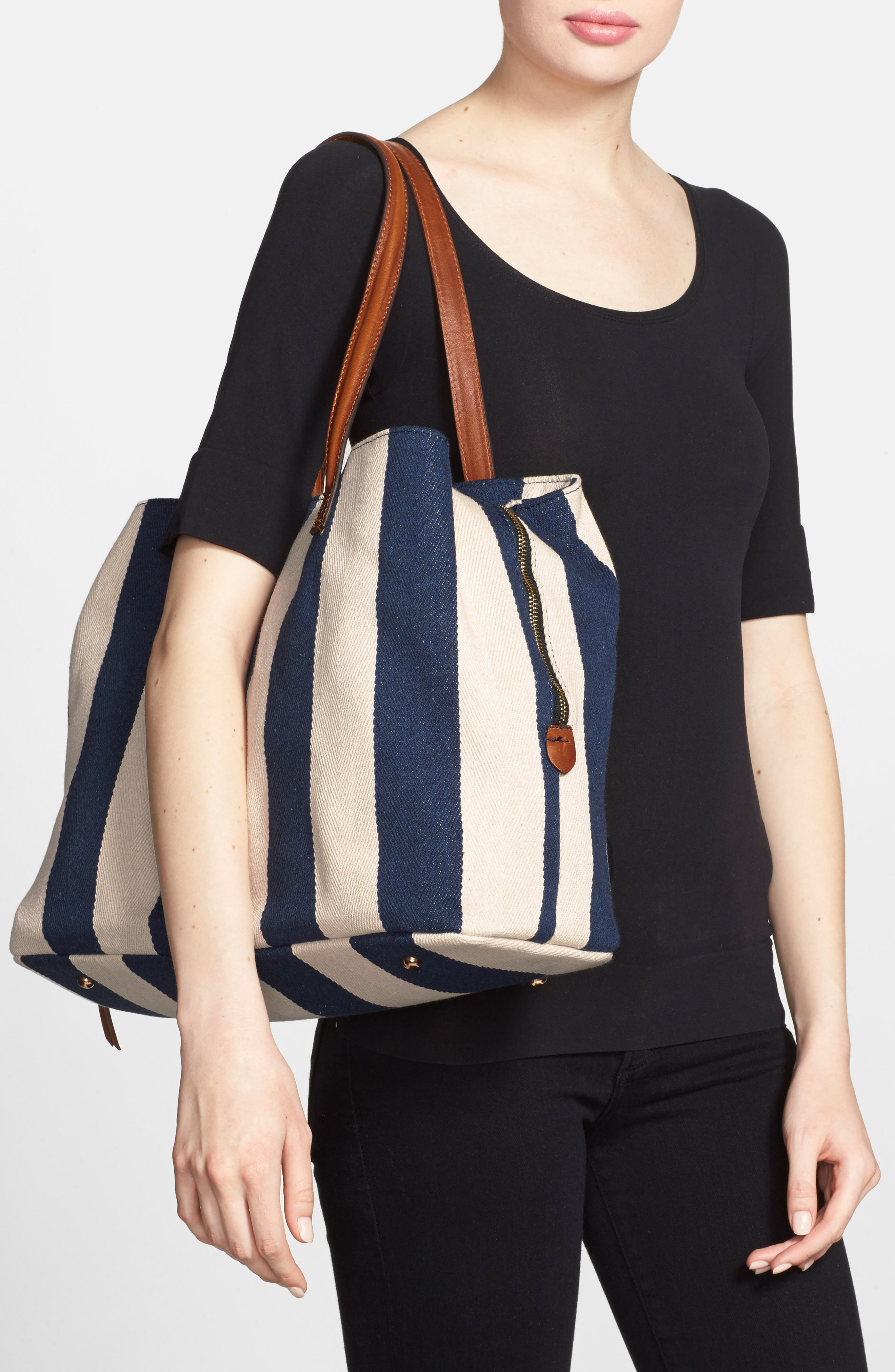 SOLE SOCIETY,                             'Oversize Millie' Stripe Print Tote,                             Alternate thumbnail 2, color,                             NAVY CREAM