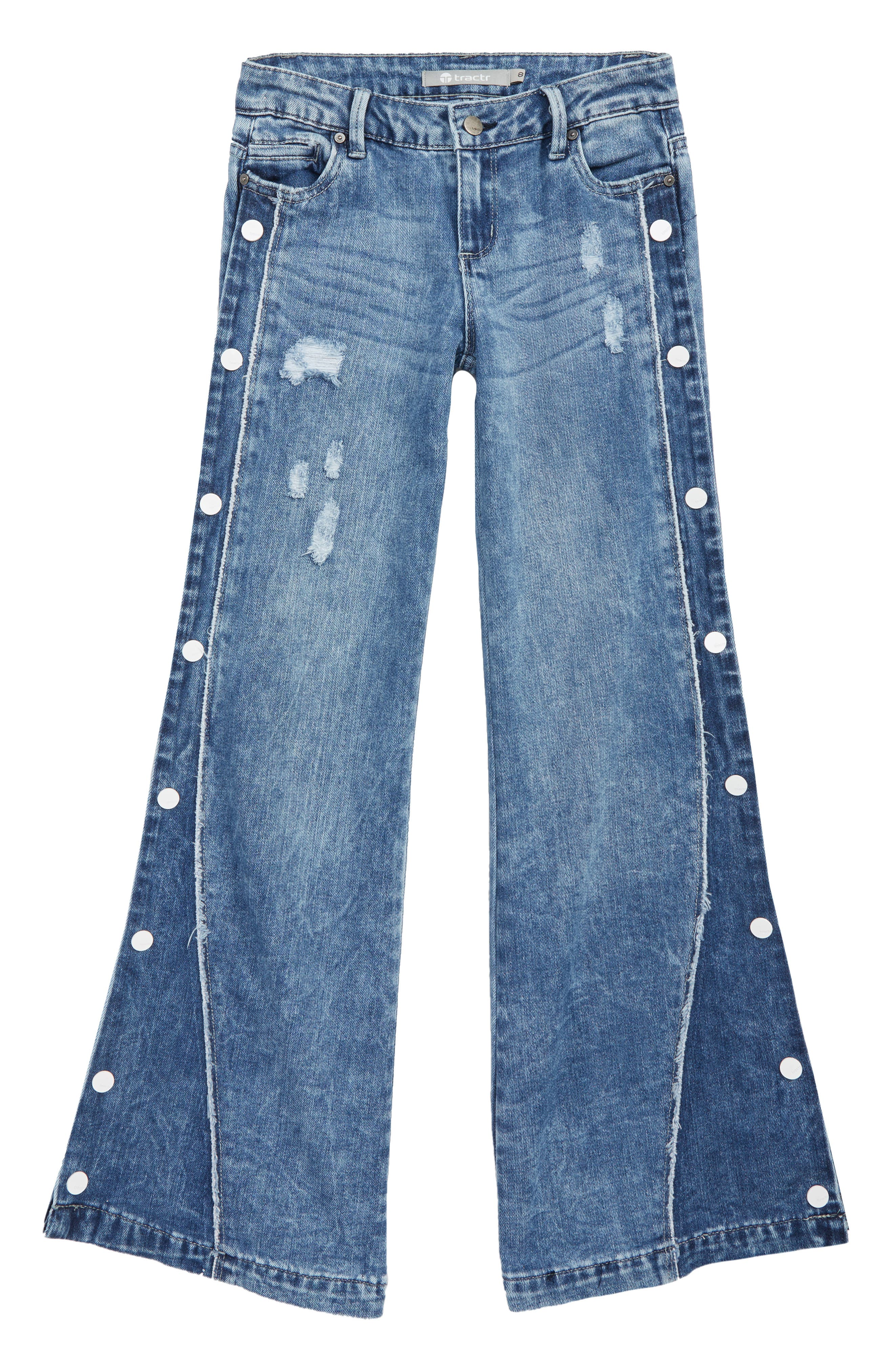 60s 70s Kids Costumes & Clothing Girls & Boys Girls Tractr Snap Side Wide Leg Jeans $32.40 AT vintagedancer.com