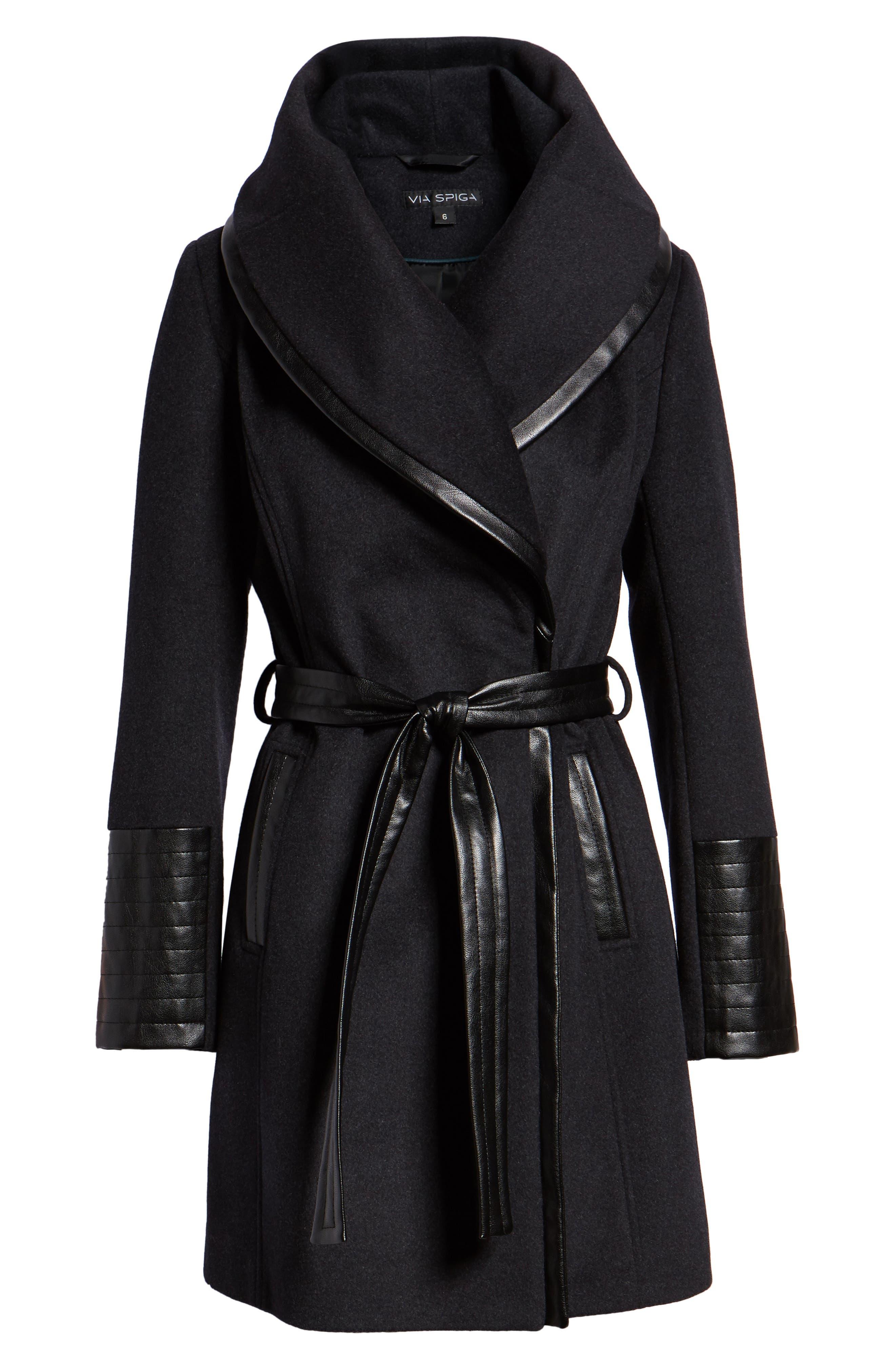 VIA SPIGA,                             Wool Blend Coat,                             Alternate thumbnail 6, color,                             CHARCOAL