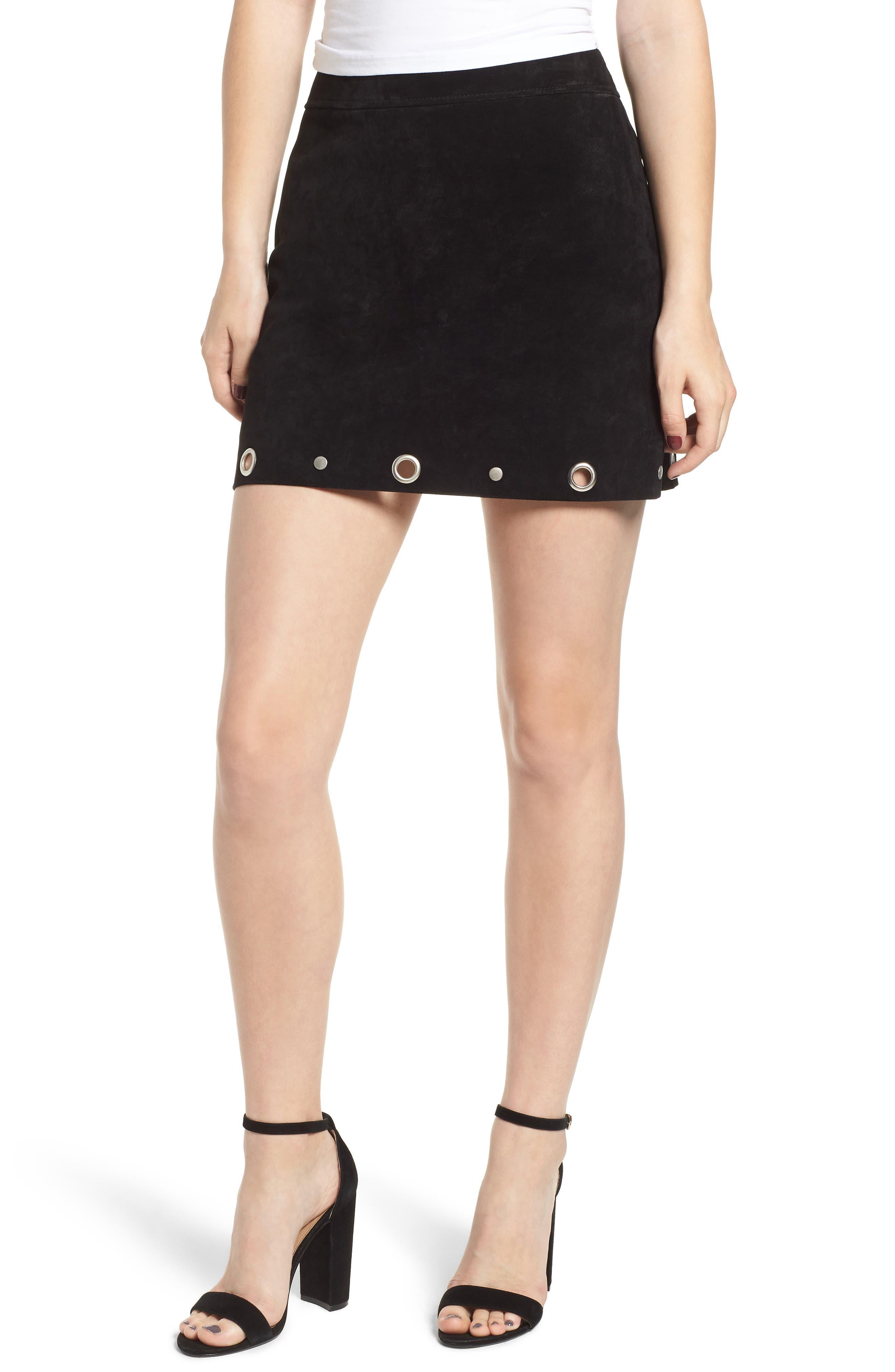 Grommet Suede Skirt,                         Main,                         color, CASTLE BLACK