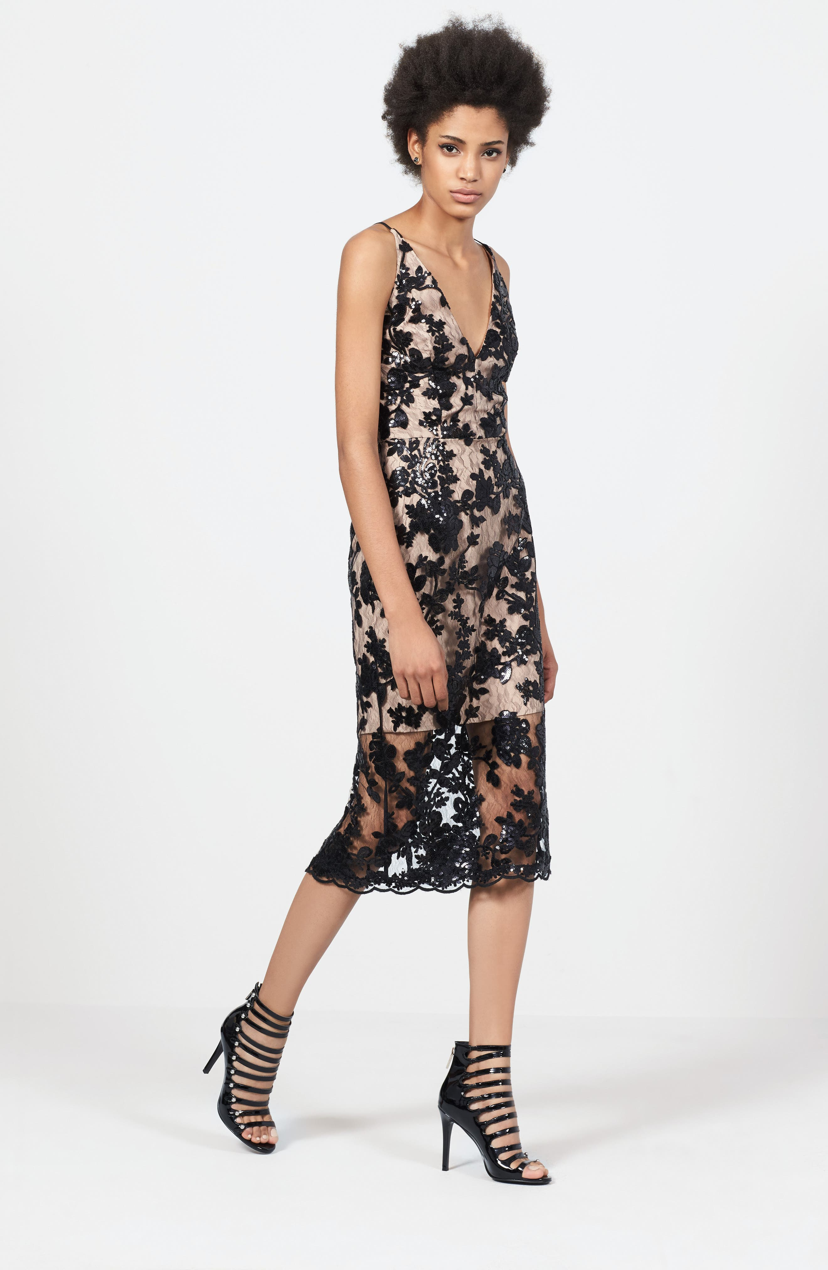 Rebecca Floral Lace Midi Dress,                             Alternate thumbnail 5, color,                             002