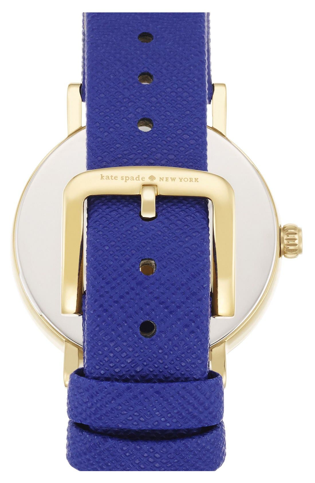 'metro - happy hour' leather strap watch, 34mm,                             Alternate thumbnail 3, color,                             400