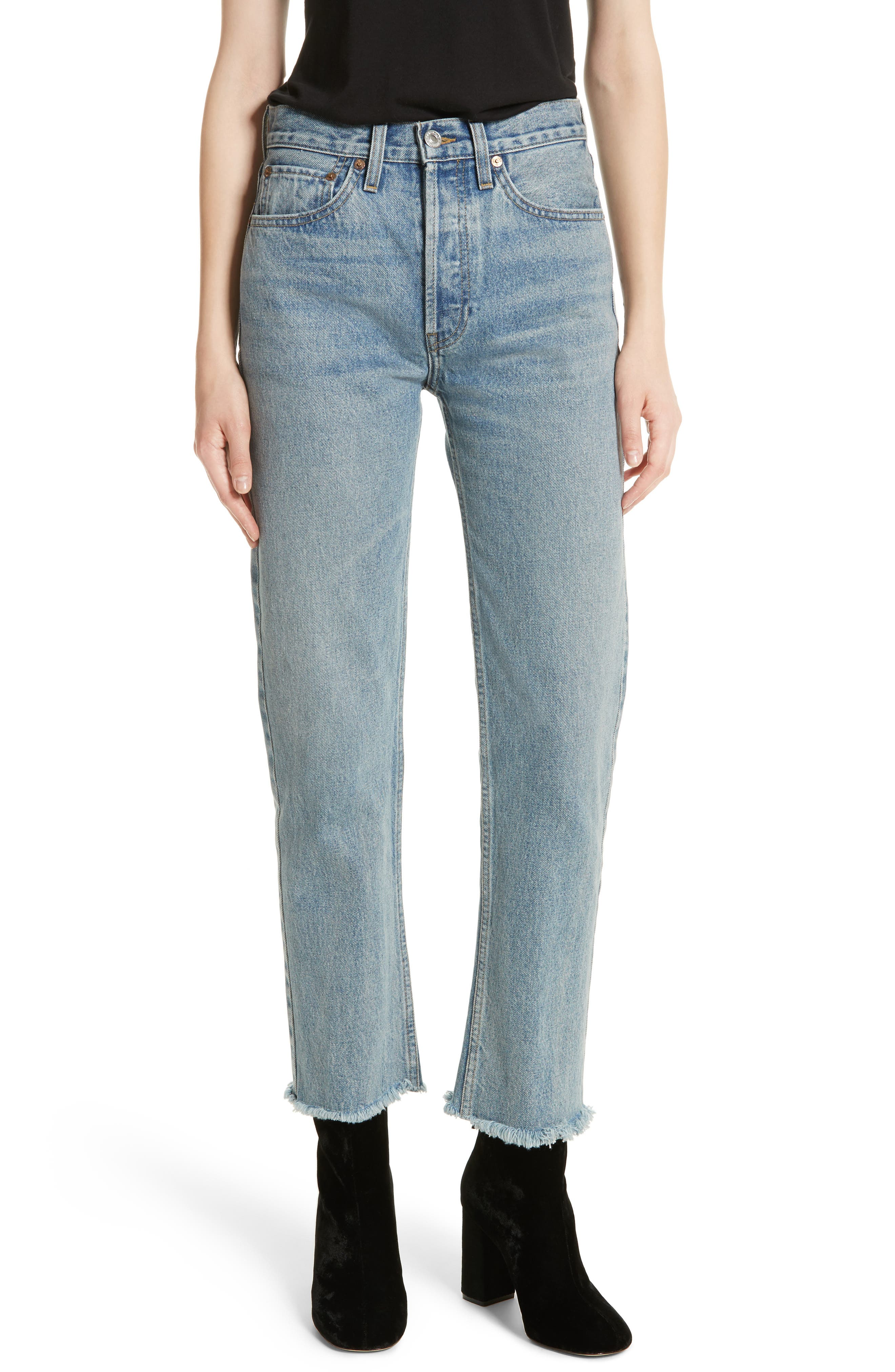 RE/DONE High Waist Stove Pipe Jeans, Main, color, 450