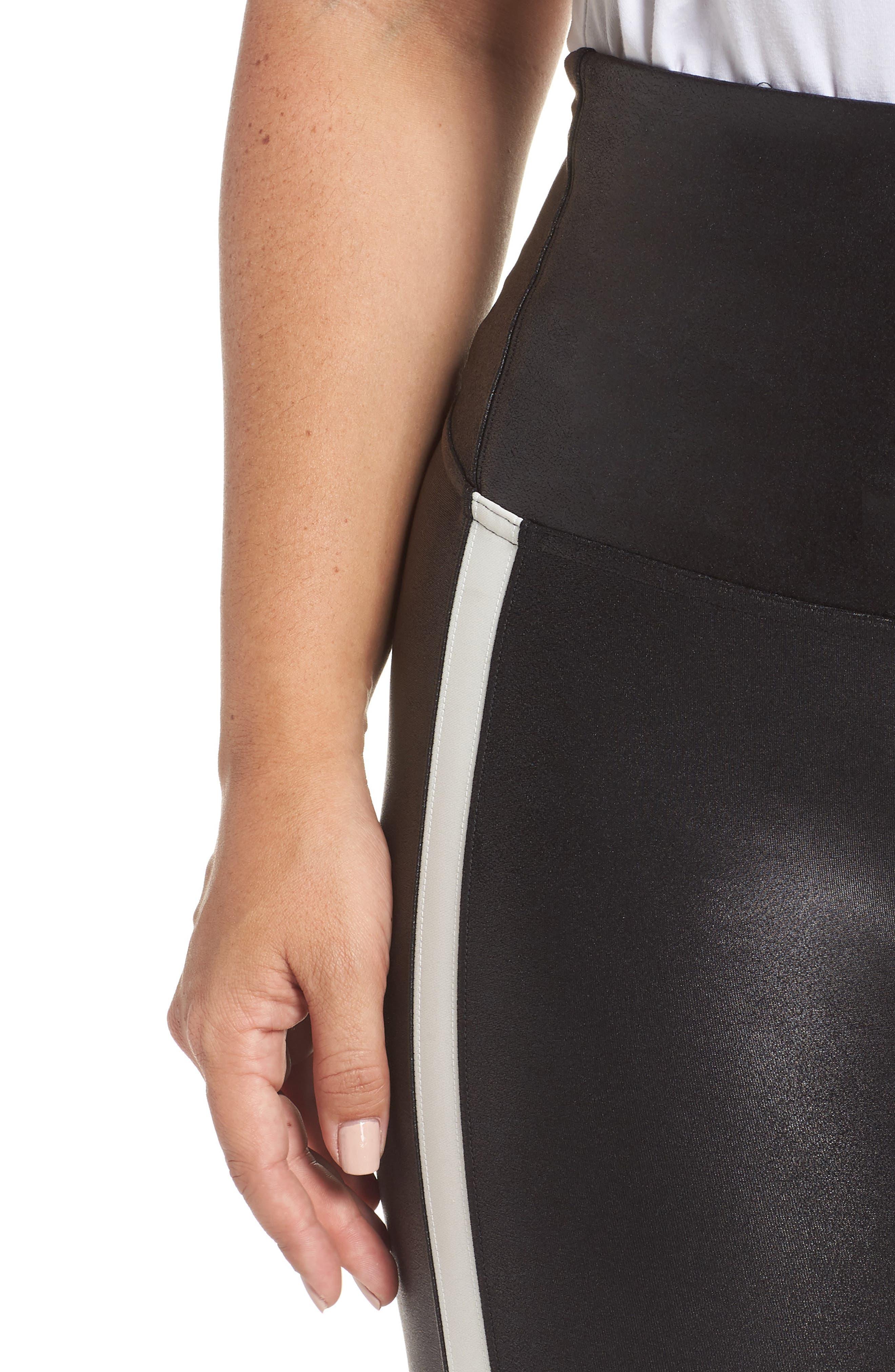 Side Stripe Faux Leather Leggings,                             Alternate thumbnail 4, color,                             VERY BLACK/WHT