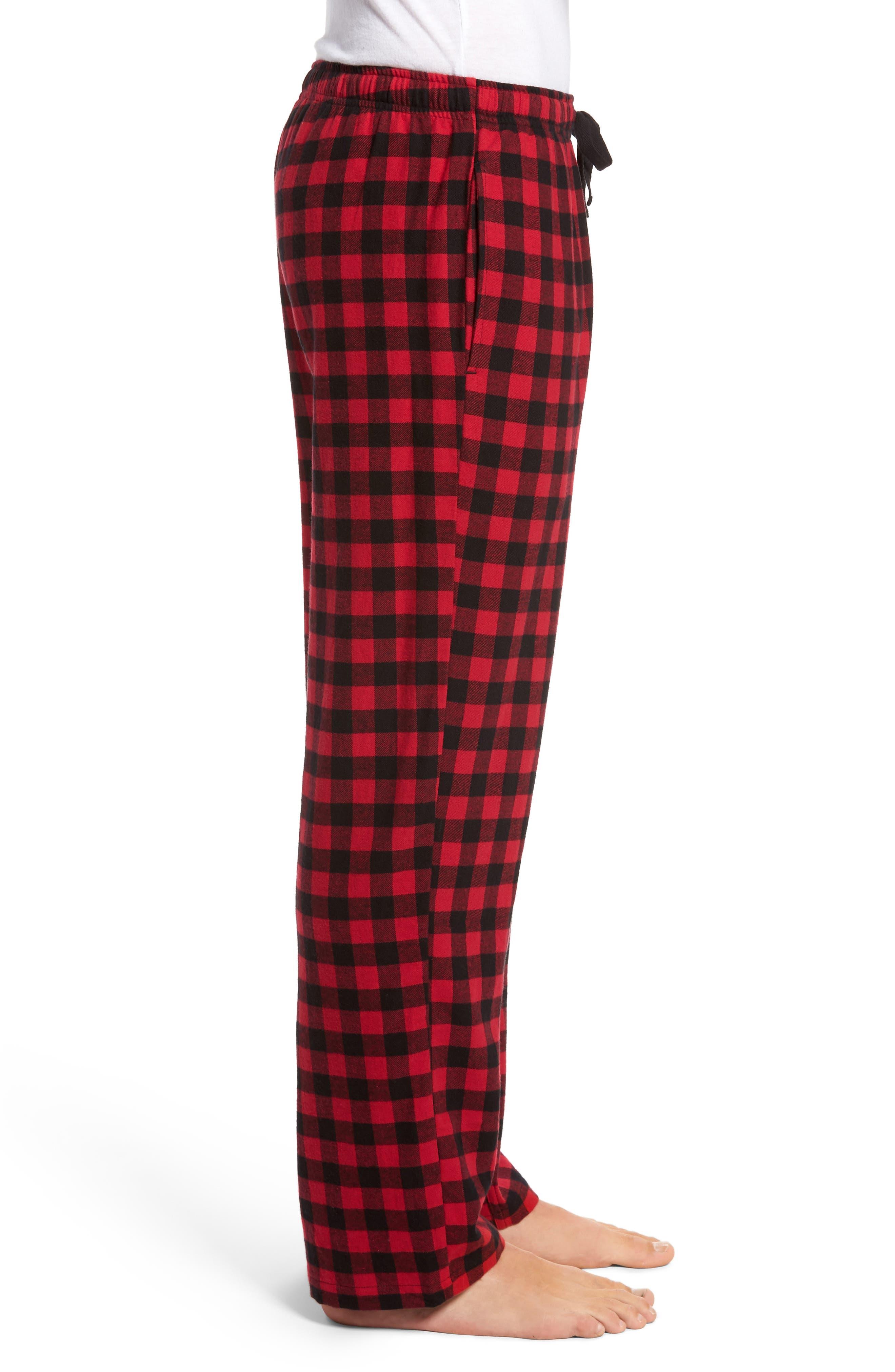 Flannel Pajama Pants,                             Alternate thumbnail 3, color,                             RED CHILI- BLACK BUFFALO