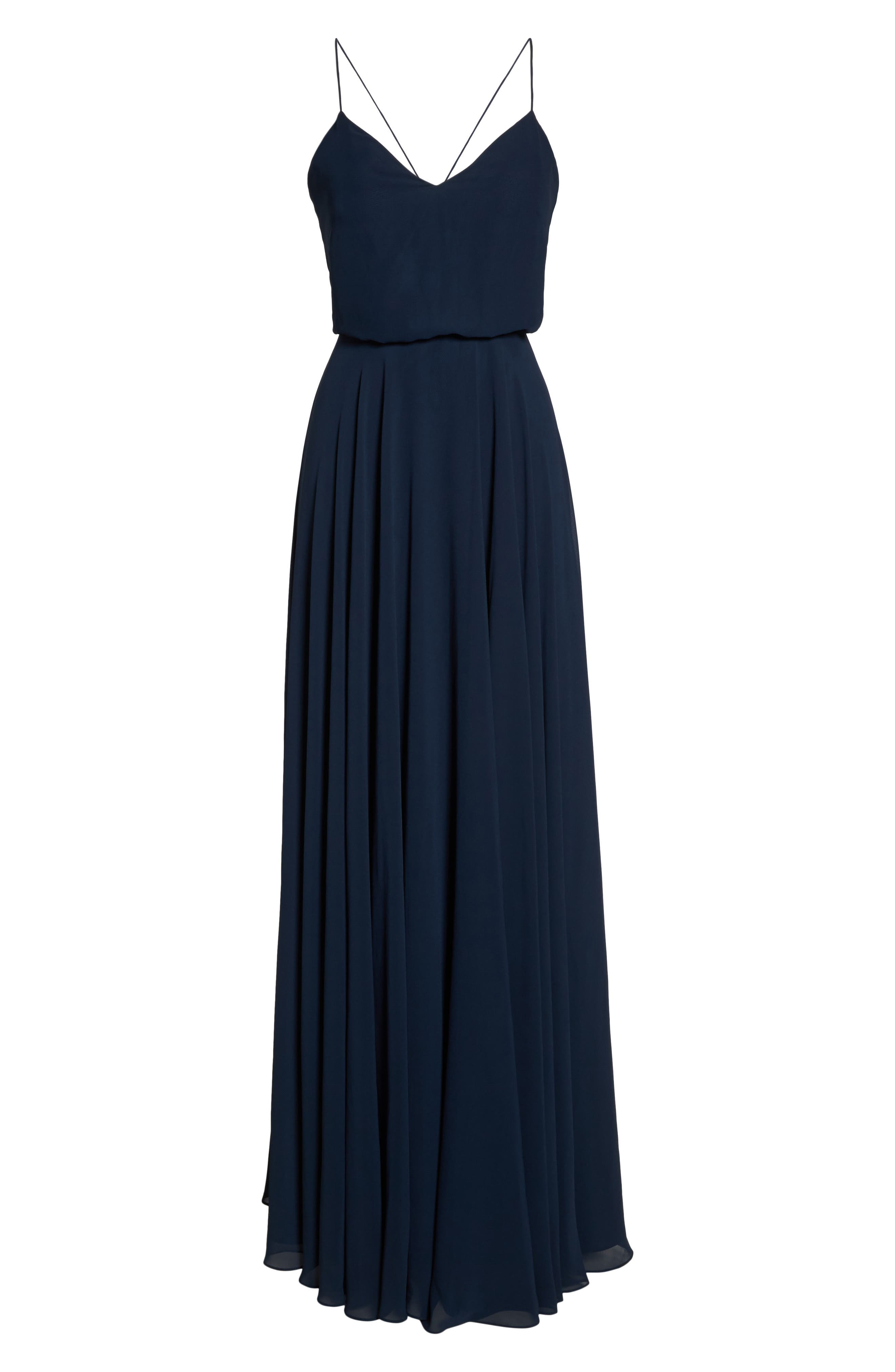 Inesse Chiffon V-Neck Spaghetti Strap Gown,                             Alternate thumbnail 7, color,                             NAVY