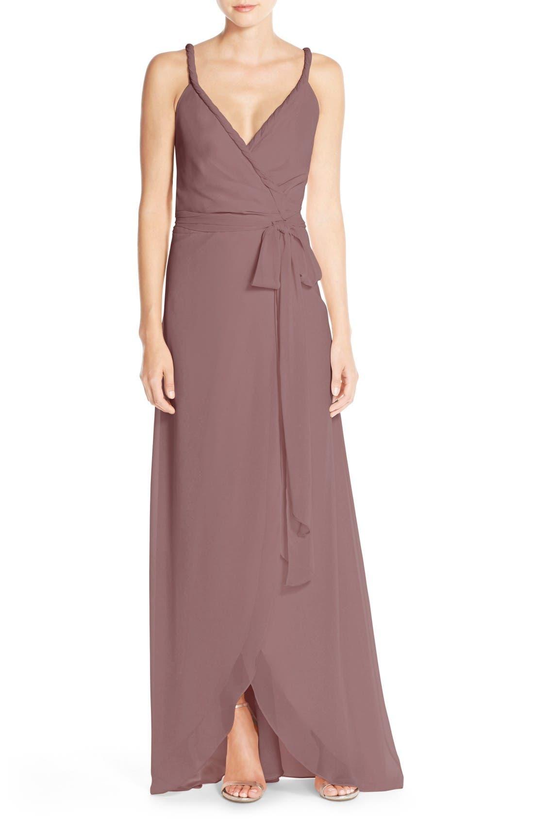 JOANNA AUGUST,                             Parker Twist Strap ChiffonWrap Gown,                             Main thumbnail 1, color,                             652