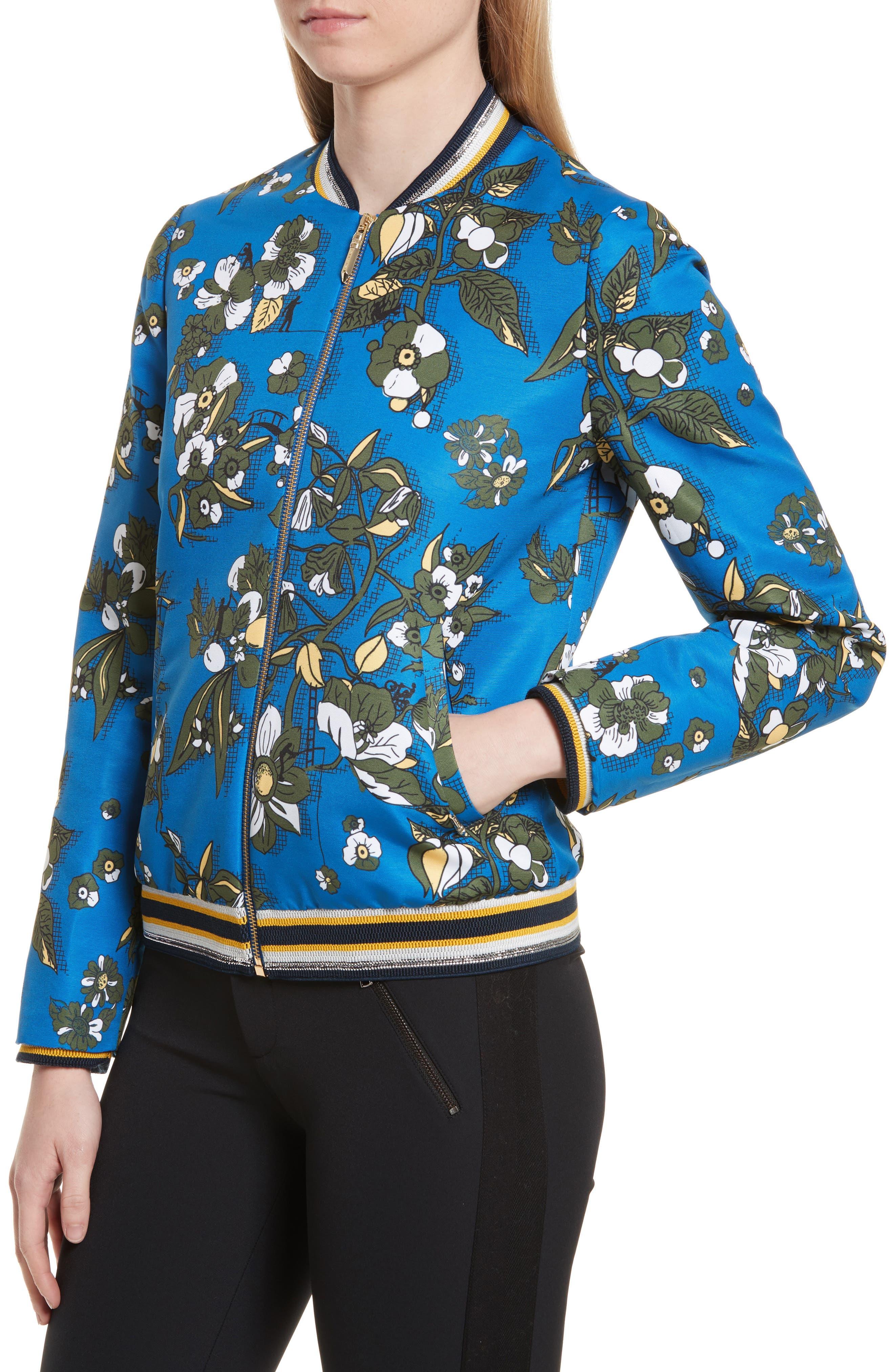 Cheylan Floral Bomber Jacket,                             Alternate thumbnail 4, color,