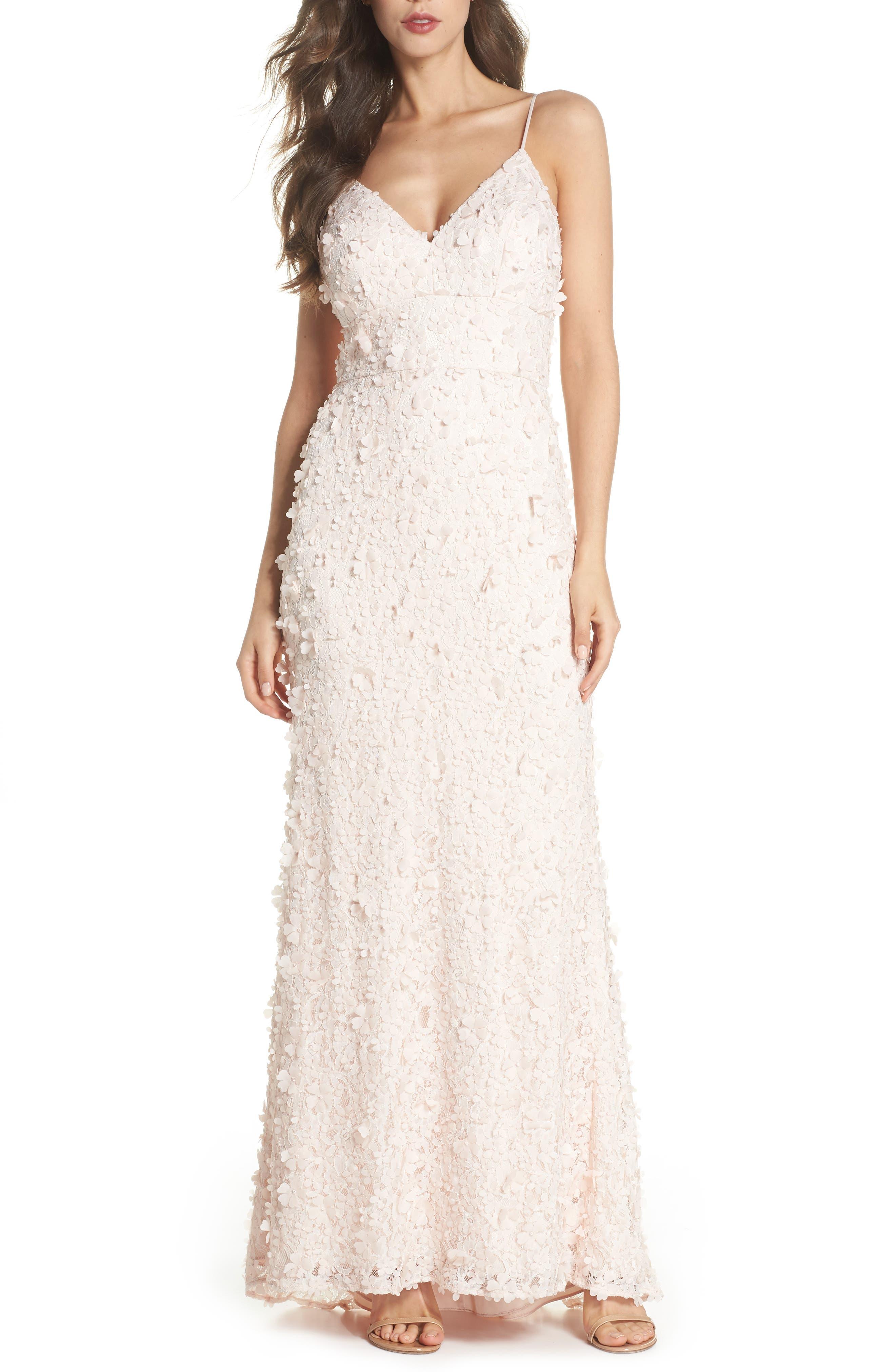 Floral Appliqué Lace Gown,                         Main,                         color, BLUSH