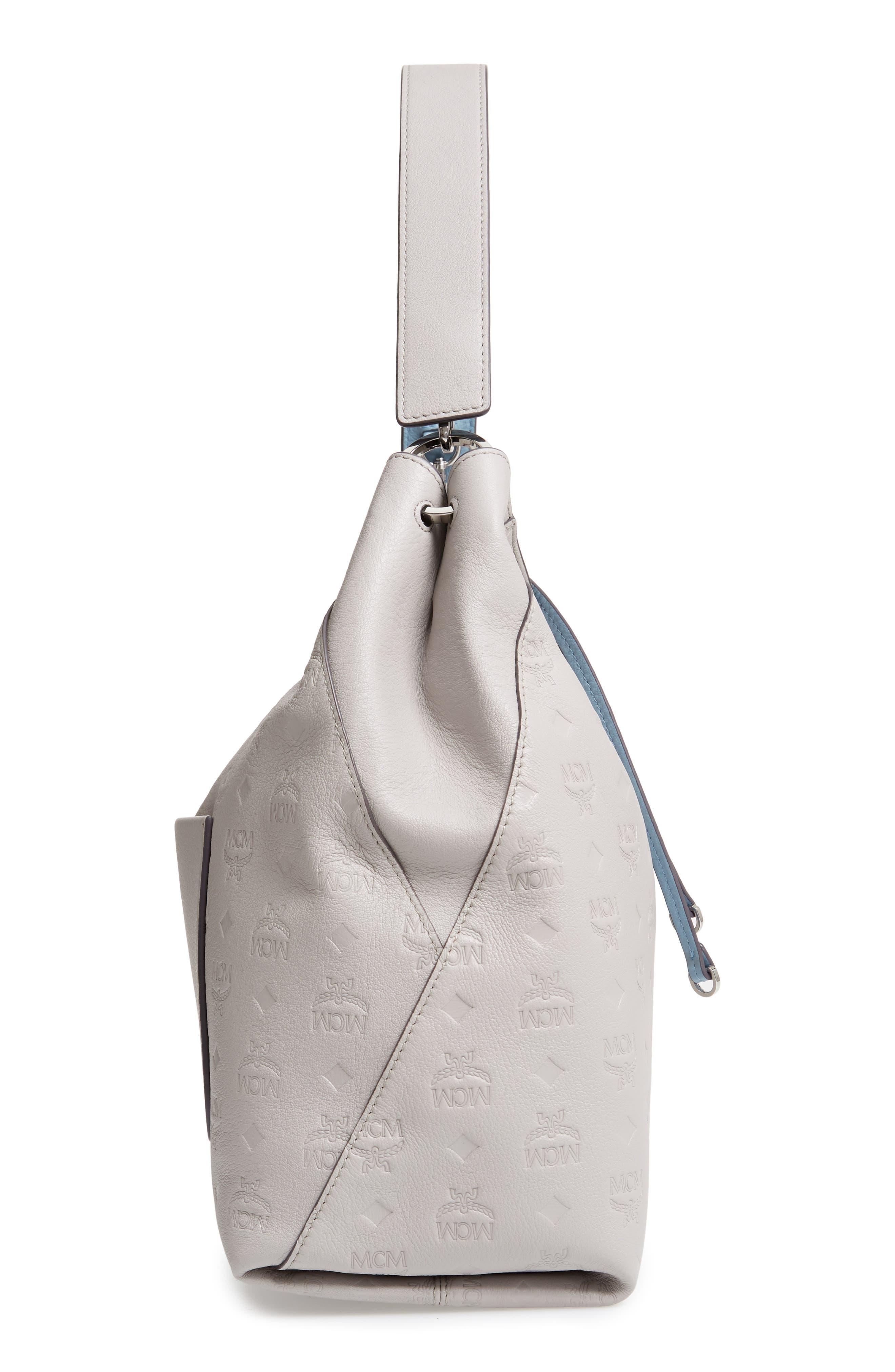 Klara Monogrammed Leather Hobo Bag,                             Alternate thumbnail 6, color,                             DOVE