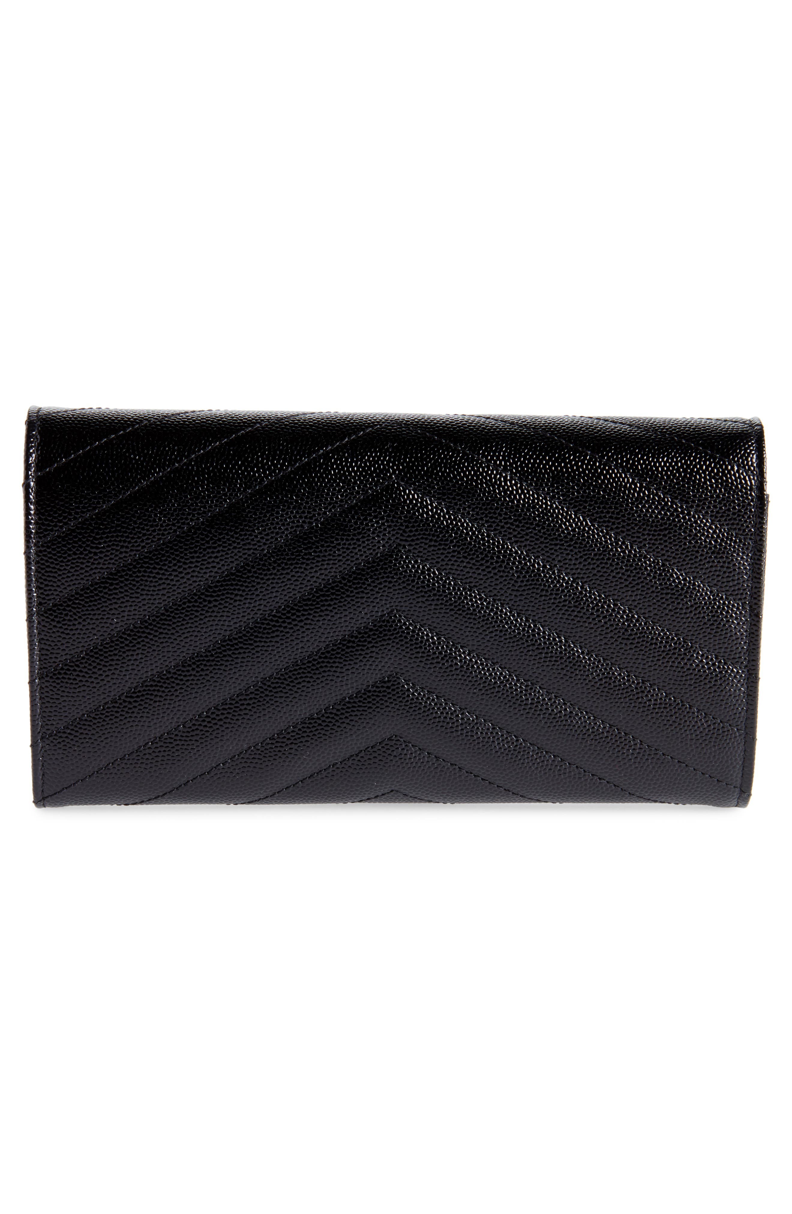 Monogram Logo Leather Flap Wallet,                             Alternate thumbnail 3, color,                             NERO