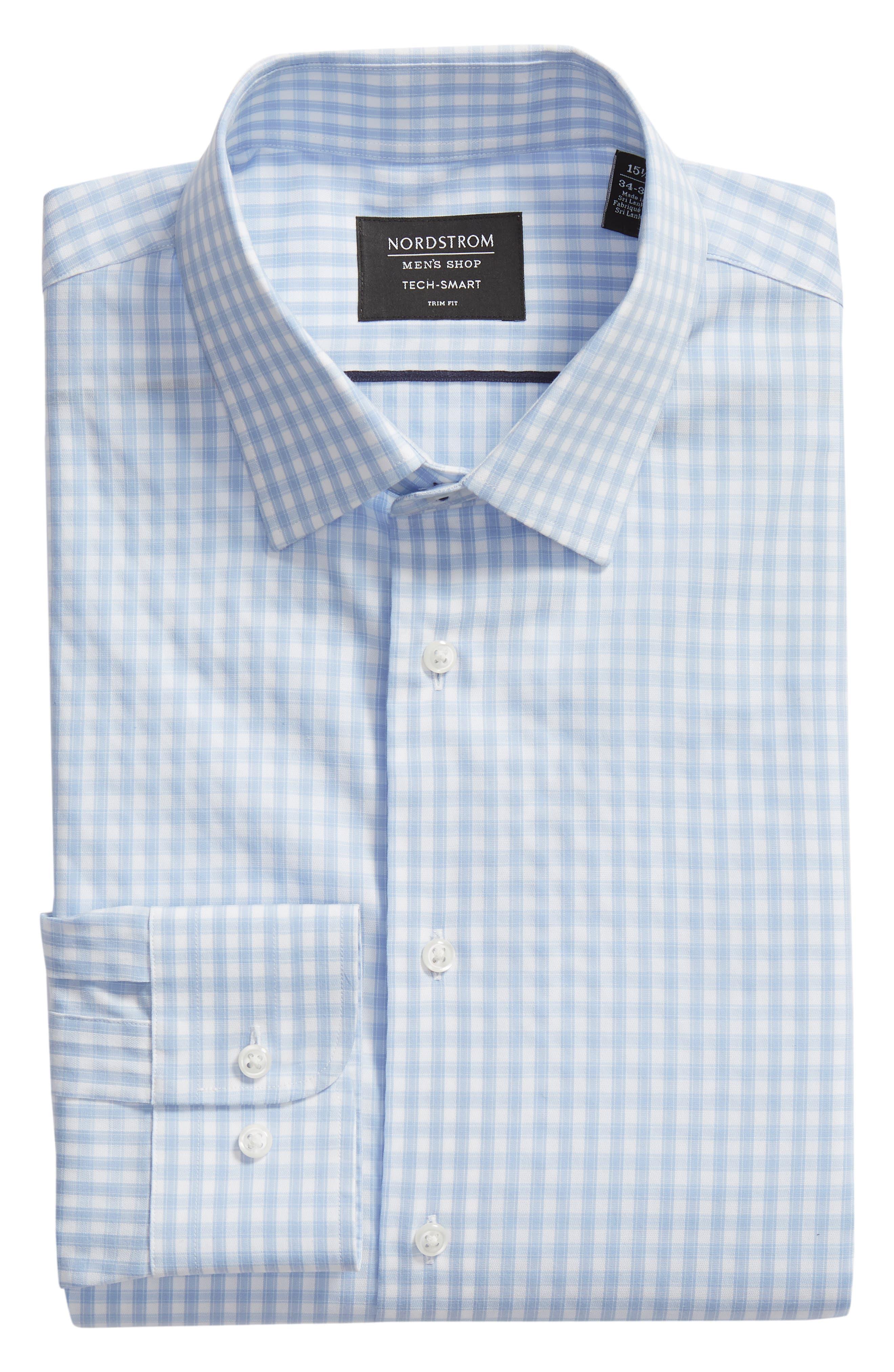 Tech-Smart Trim Fit Stretch Check Dress Shirt,                             Alternate thumbnail 5, color,                             BLUE BRUNNERA