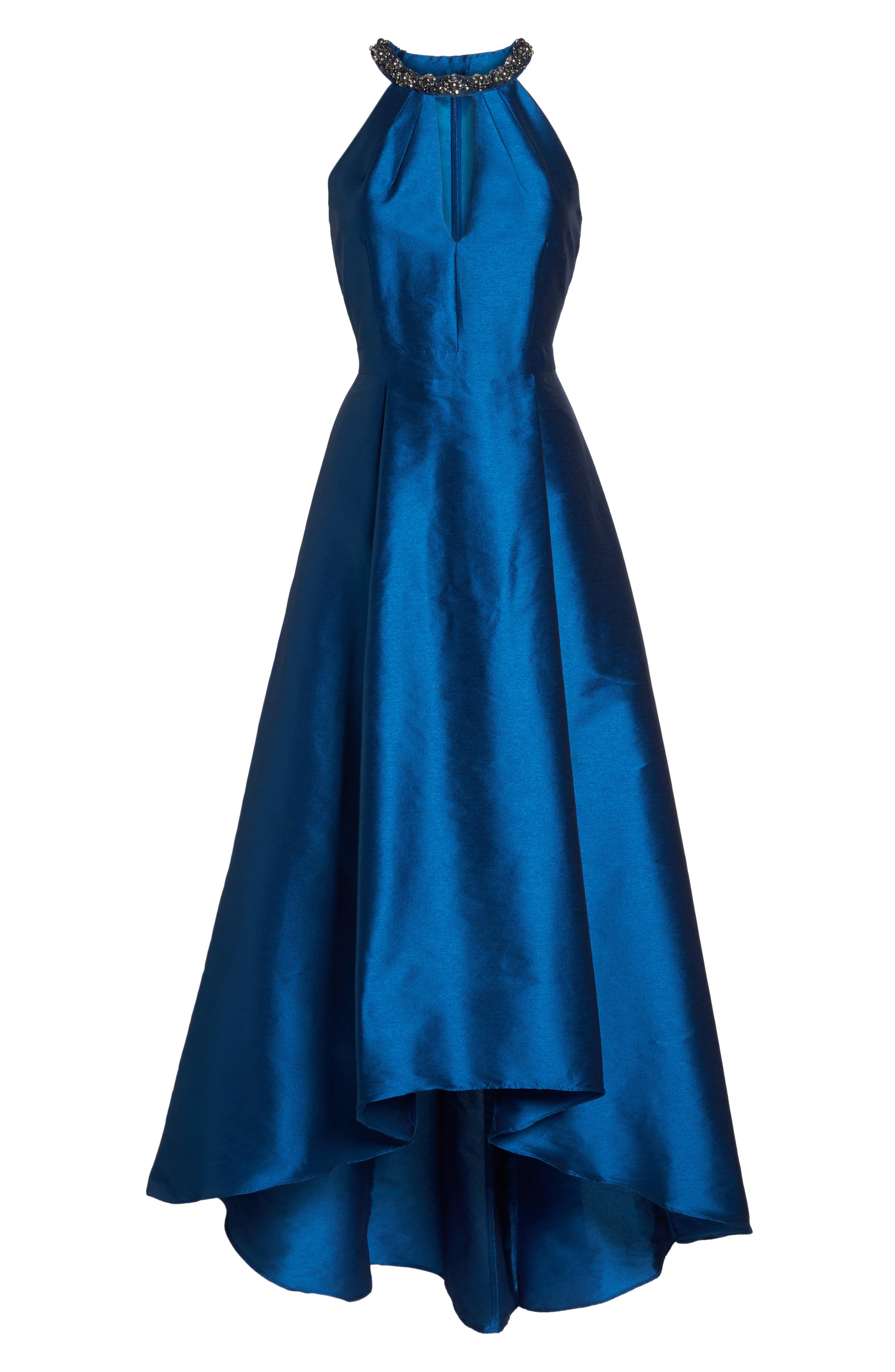 Beaded Neck Faille Gown,                             Alternate thumbnail 6, color,                             473