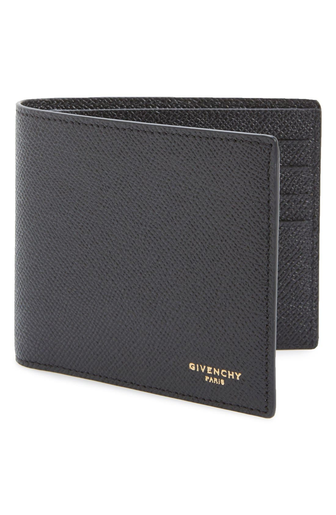 Calfskin Leather Bifold Wallet,                             Main thumbnail 1, color,                             BLACK
