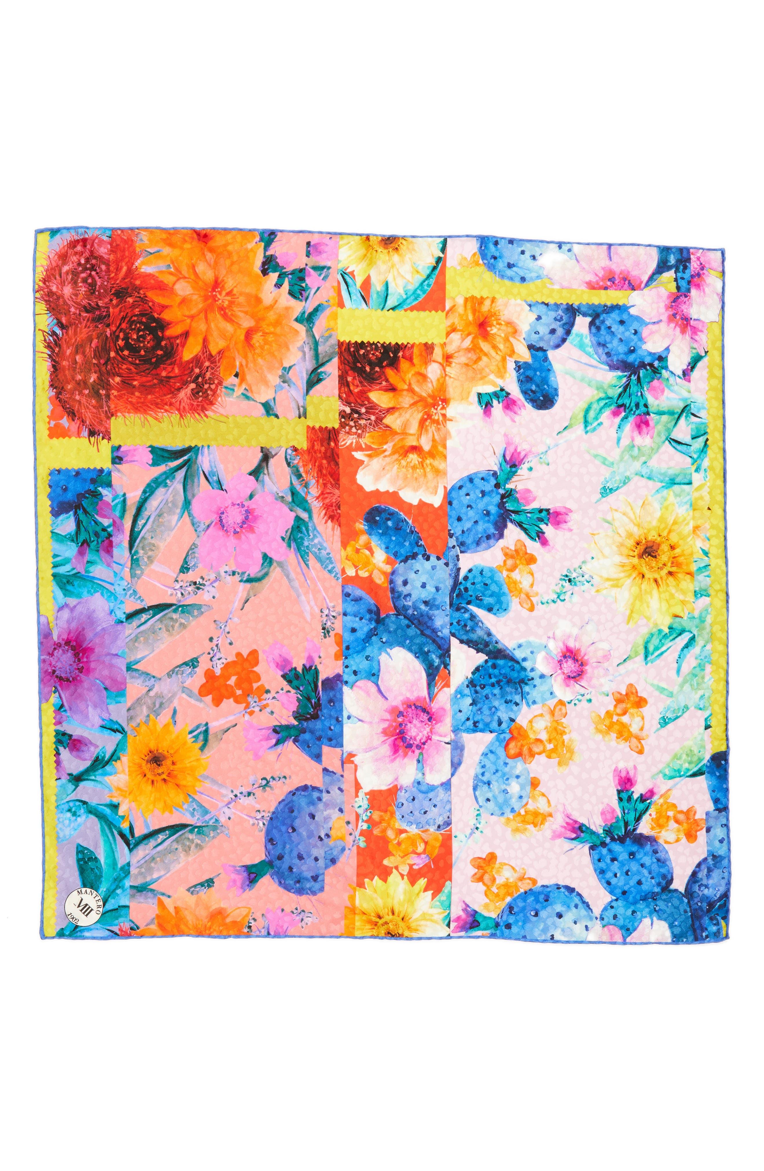 Icona del Sud Square Silk Scarf,                             Main thumbnail 1, color,                             CORAL RED/ BLUE
