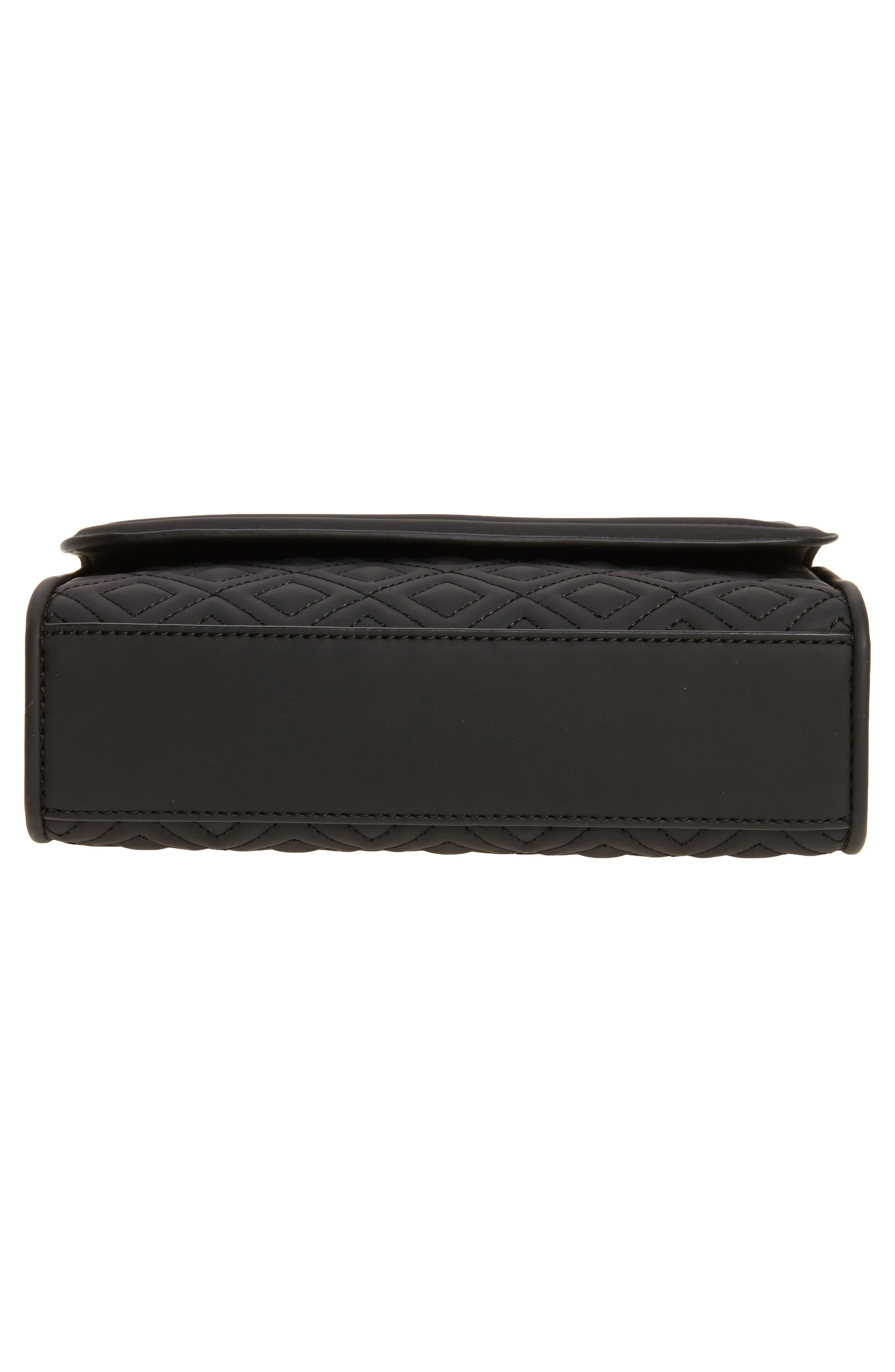 Small Fleming Quilted Shoulder Bag,                             Alternate thumbnail 6, color,                             BLACK