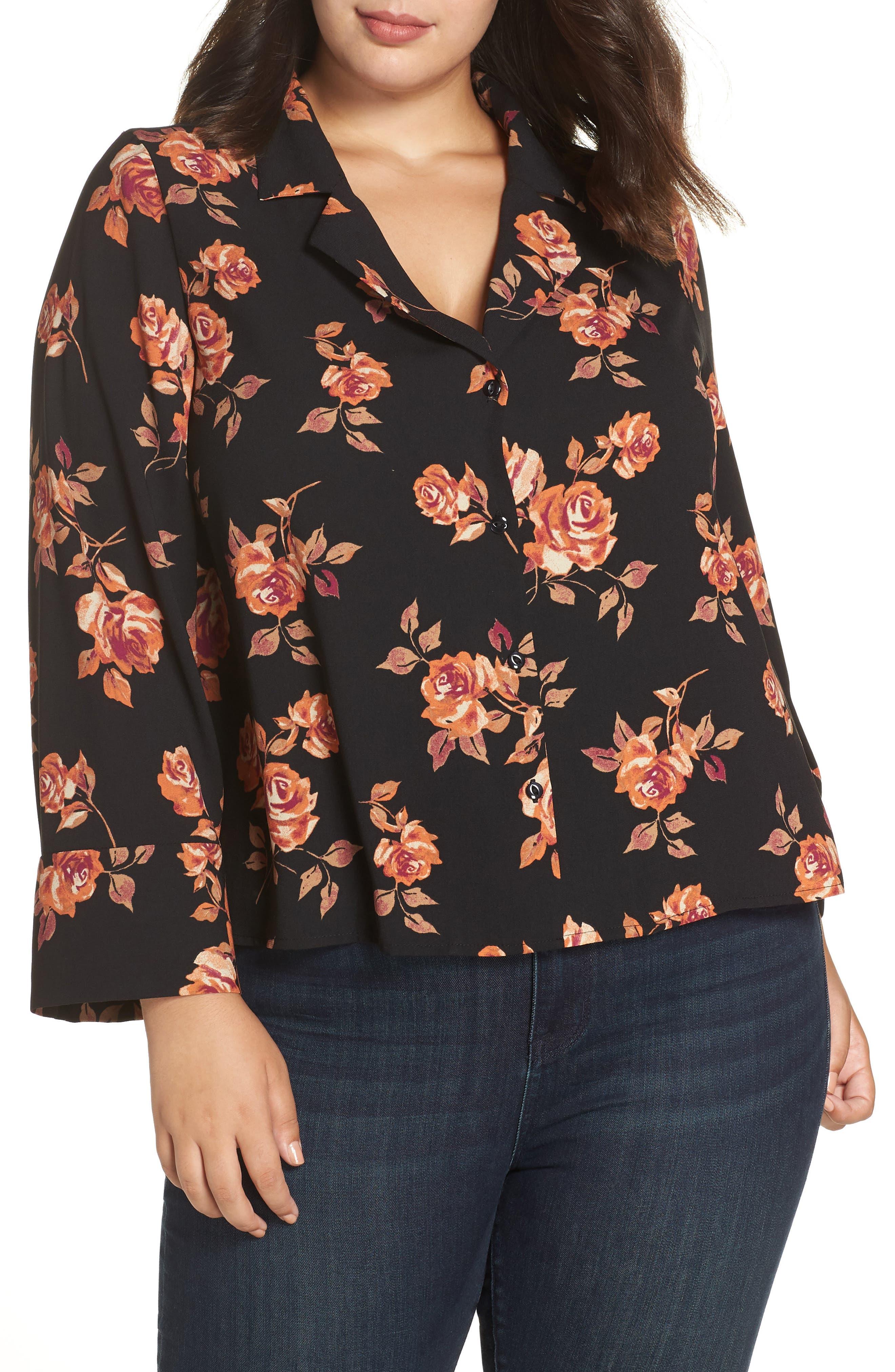 Notched Collar Floral Print Shirt,                         Main,                         color, BLACK POP FLORAL