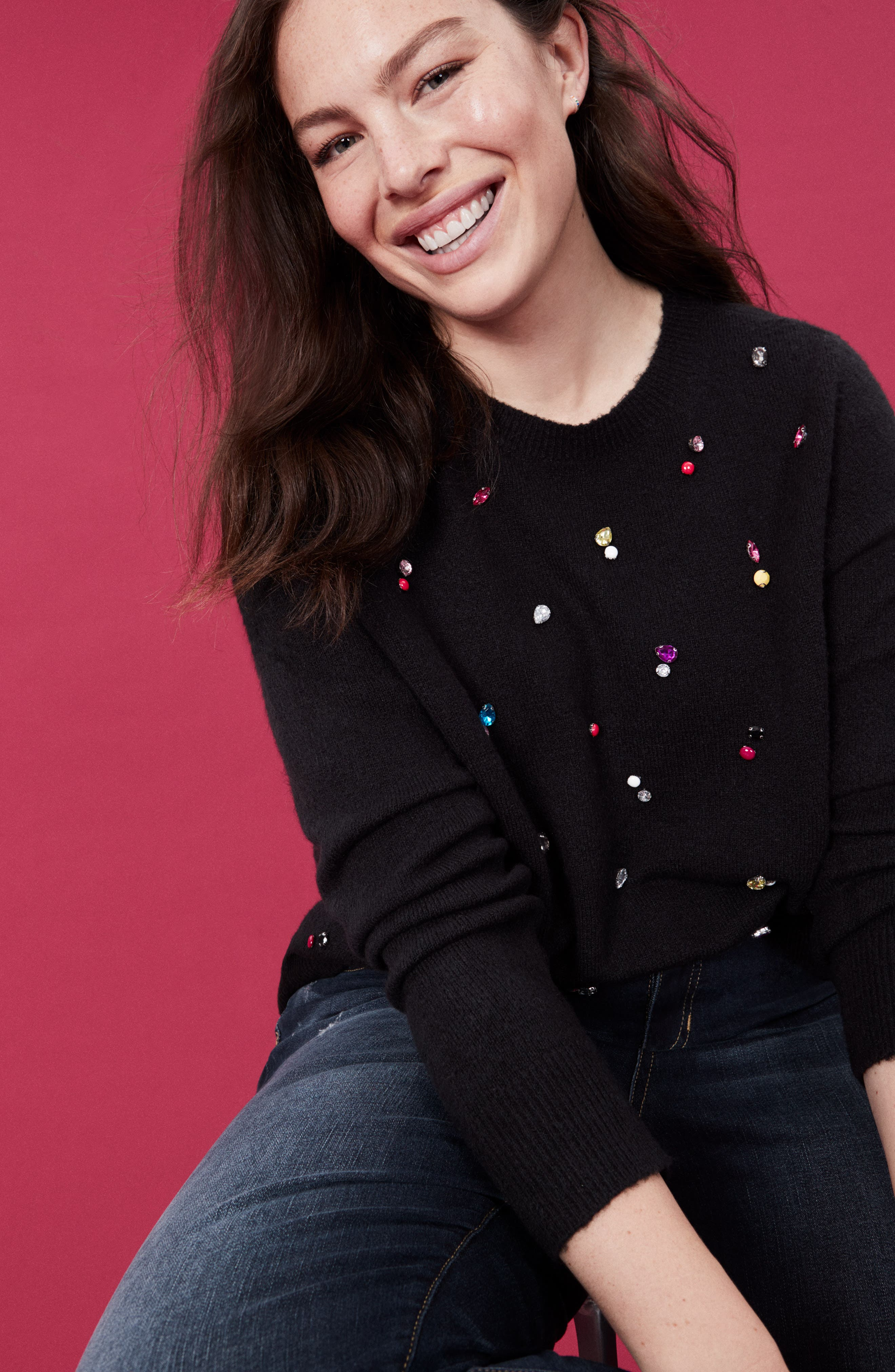 Embellished Sweater,                             Alternate thumbnail 7, color,                             001