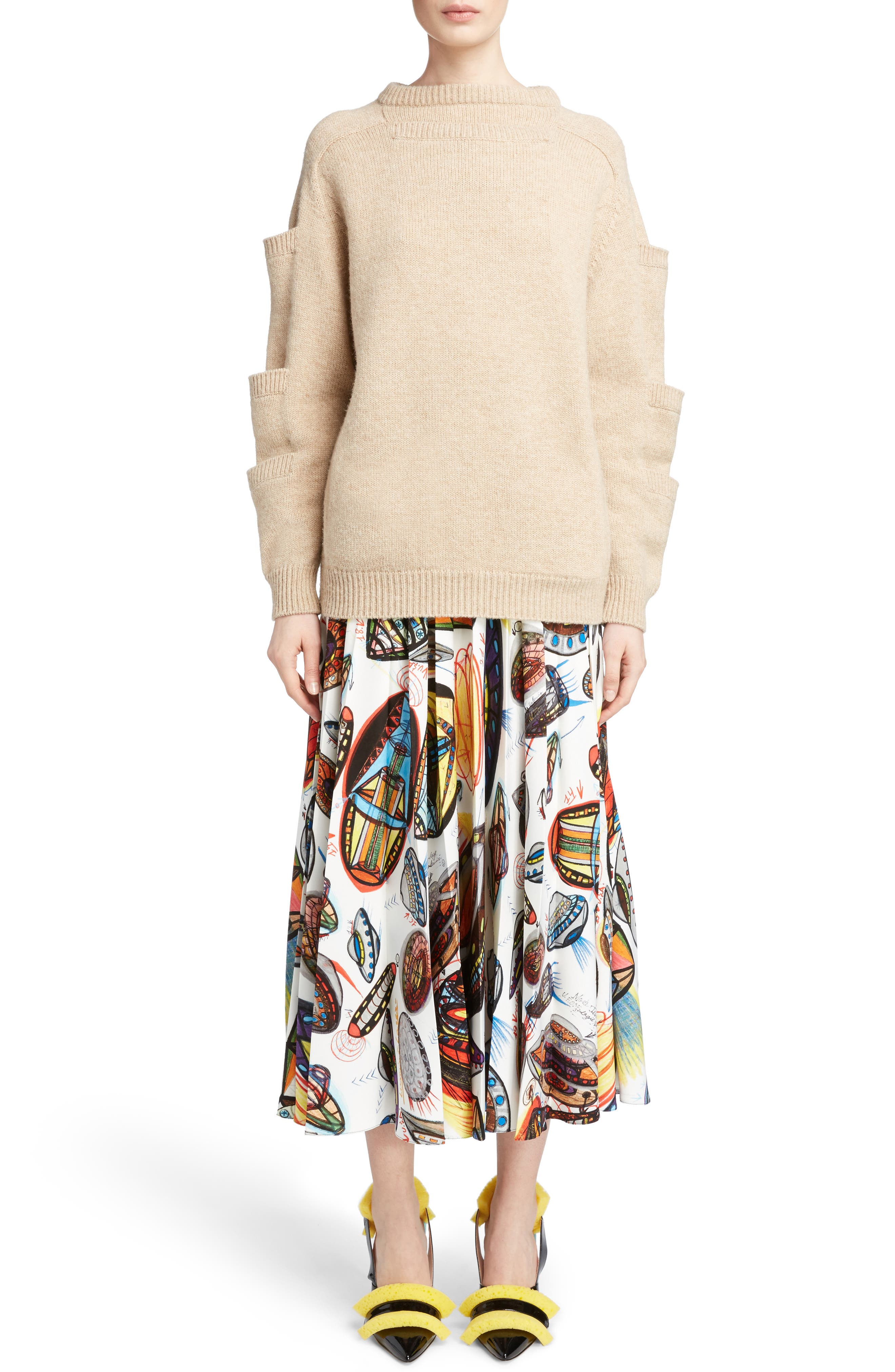Sleeve Pocket Wool Sweater,                             Alternate thumbnail 6, color,                             250
