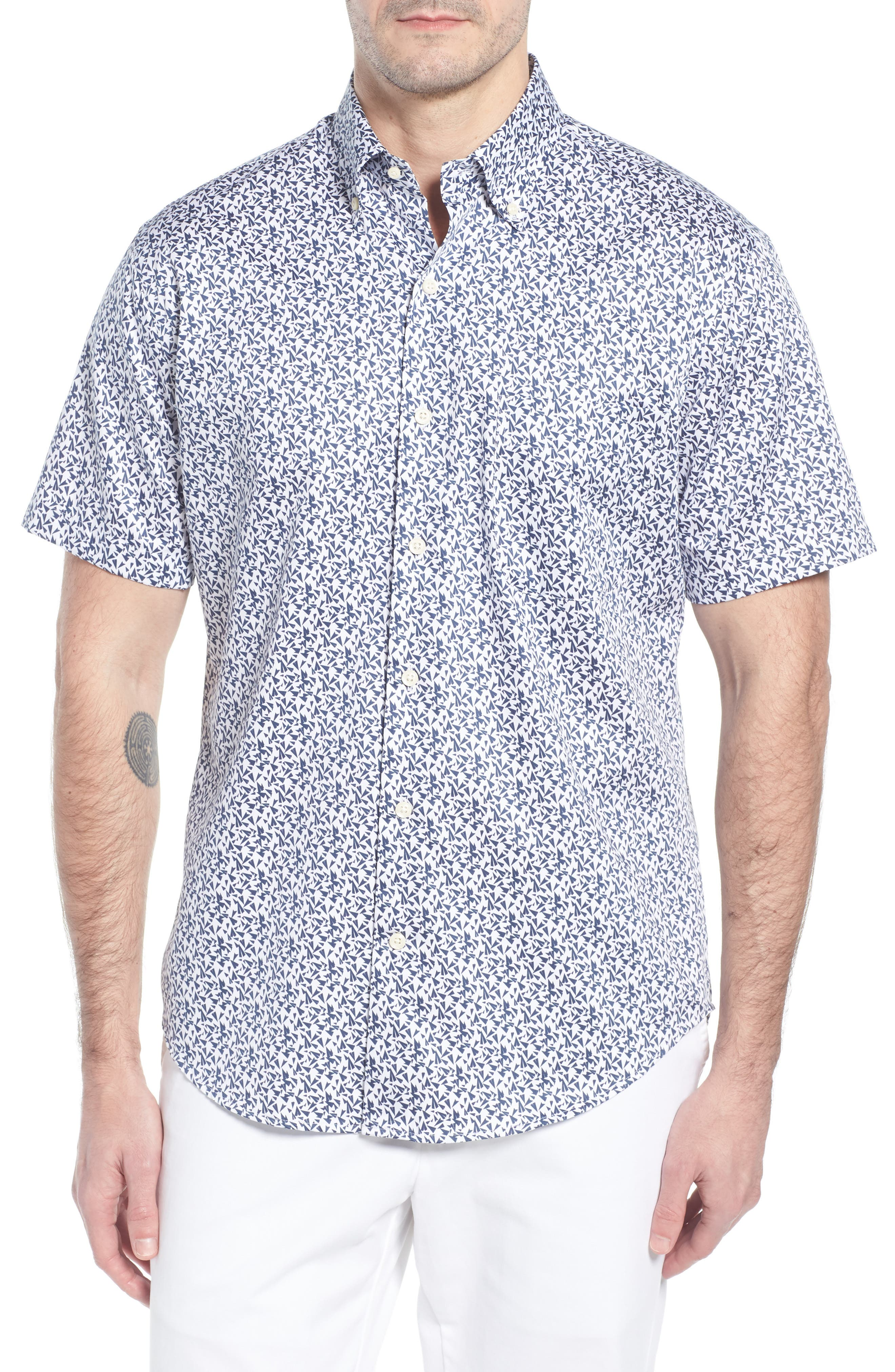 Fly Like Paper Print Sport Shirt,                         Main,                         color, WHITE