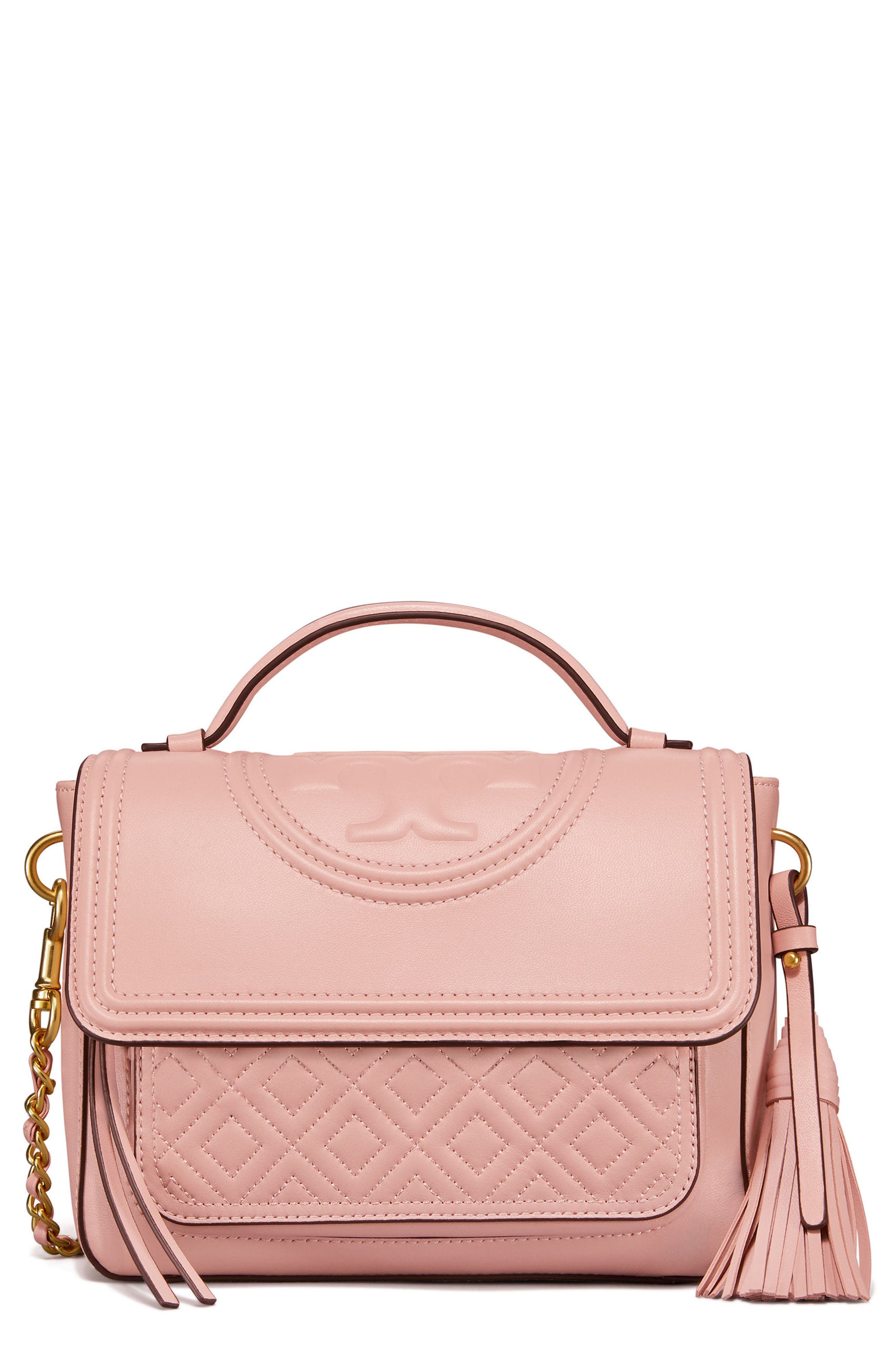 Fleming Quilted Leather Top Handle Satchel,                         Main,                         color, SHELL PINK