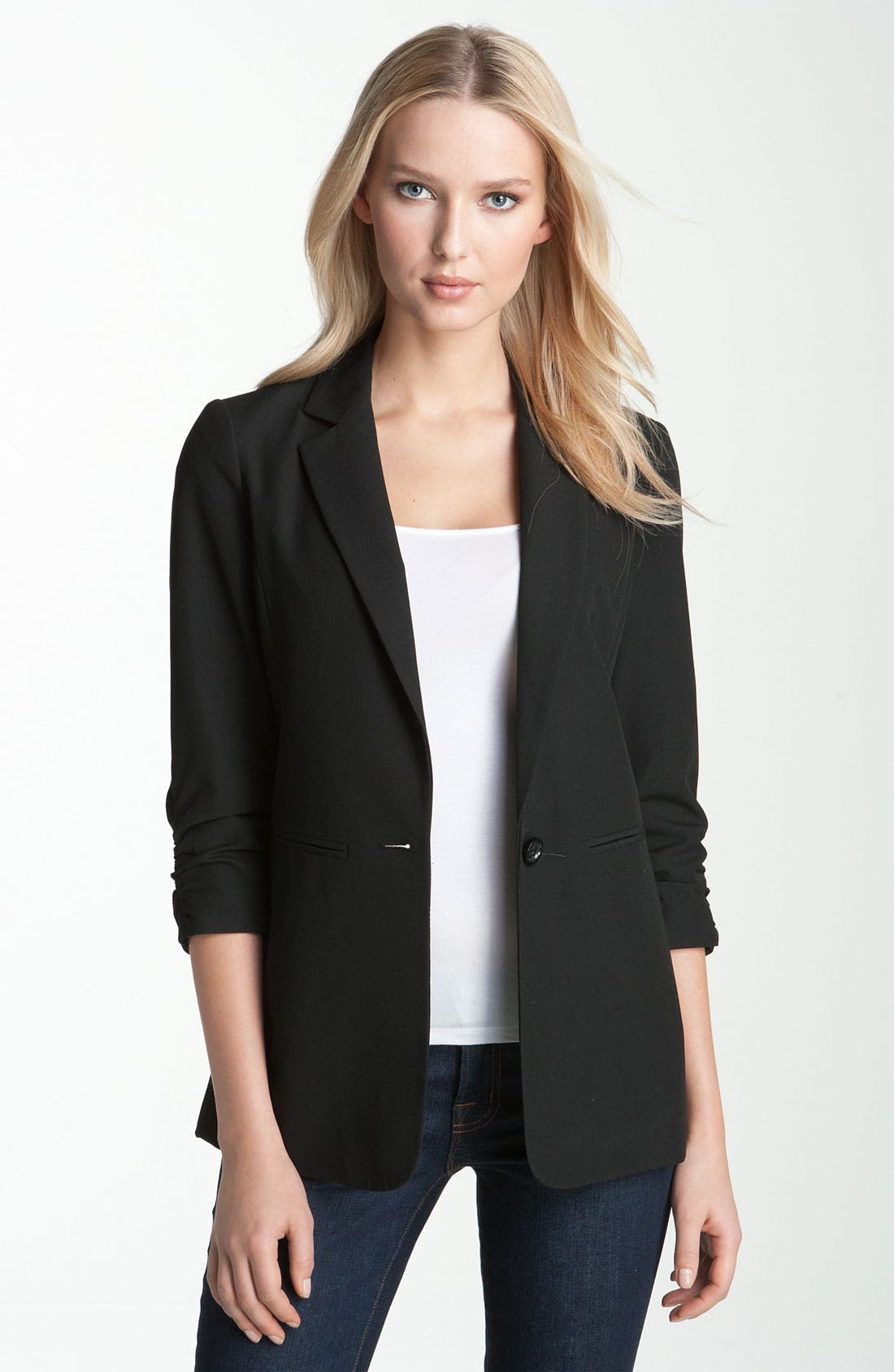 Ruched Sleeve Boyfriend Jacket, Main, color, 001