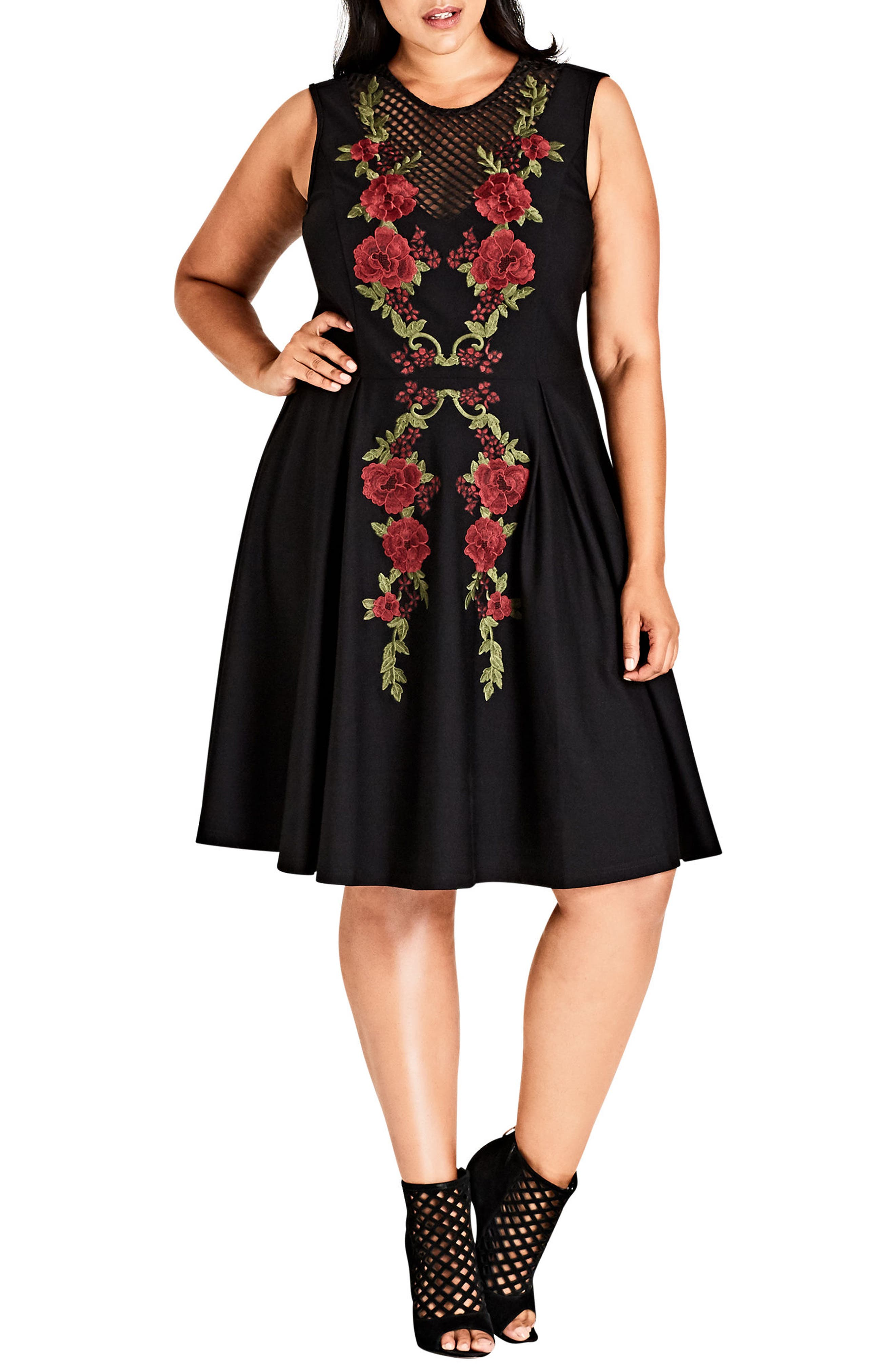 Rose Adore Fit & Flare Dress,                             Main thumbnail 1, color,                             BLACK