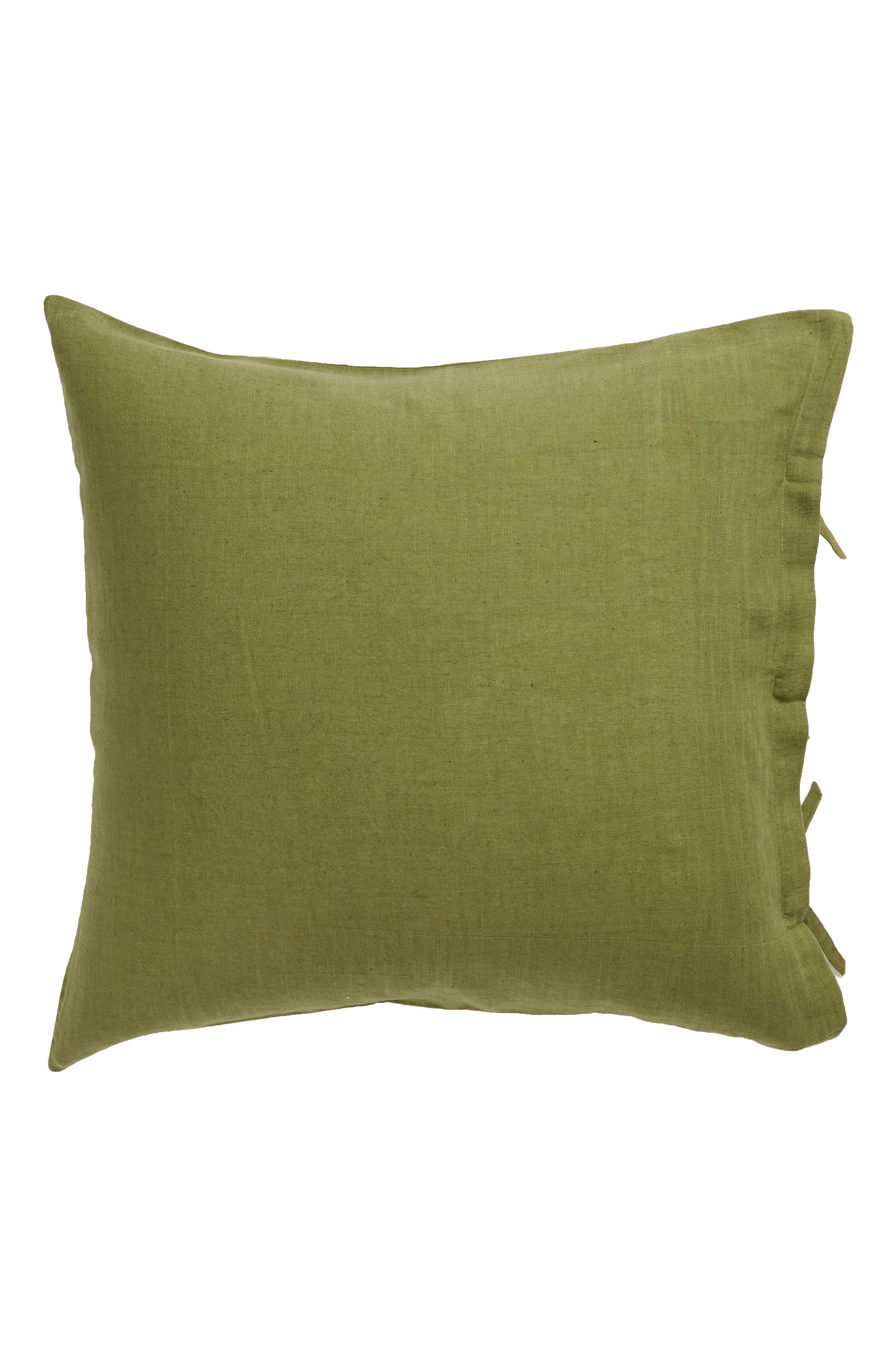 TREASURE & BOND Relaxed Cotton & Linen Euro Sham, Main, color, OLIVE SPICE
