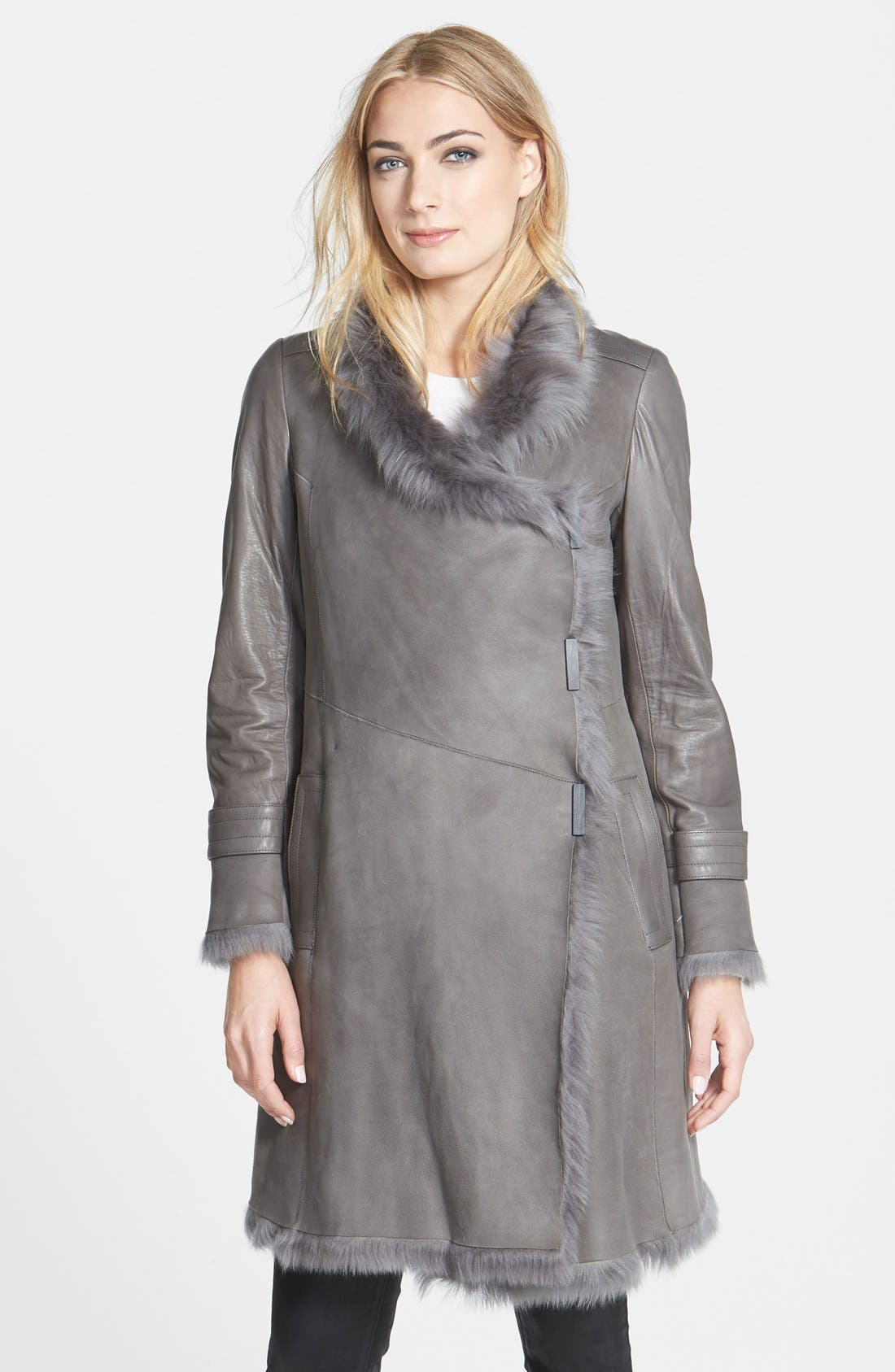 Genuine Toscana Shearling Wrap Coat,                             Main thumbnail 1, color,                             020