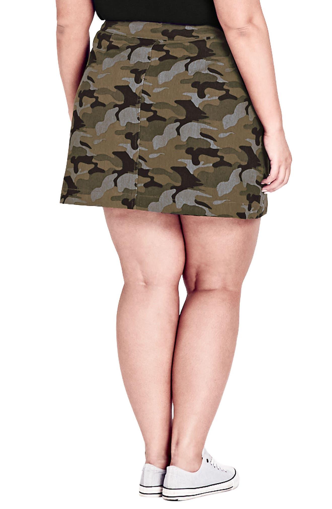 Miss Military Camo Miniskirt,                             Alternate thumbnail 2, color,                             CAMO