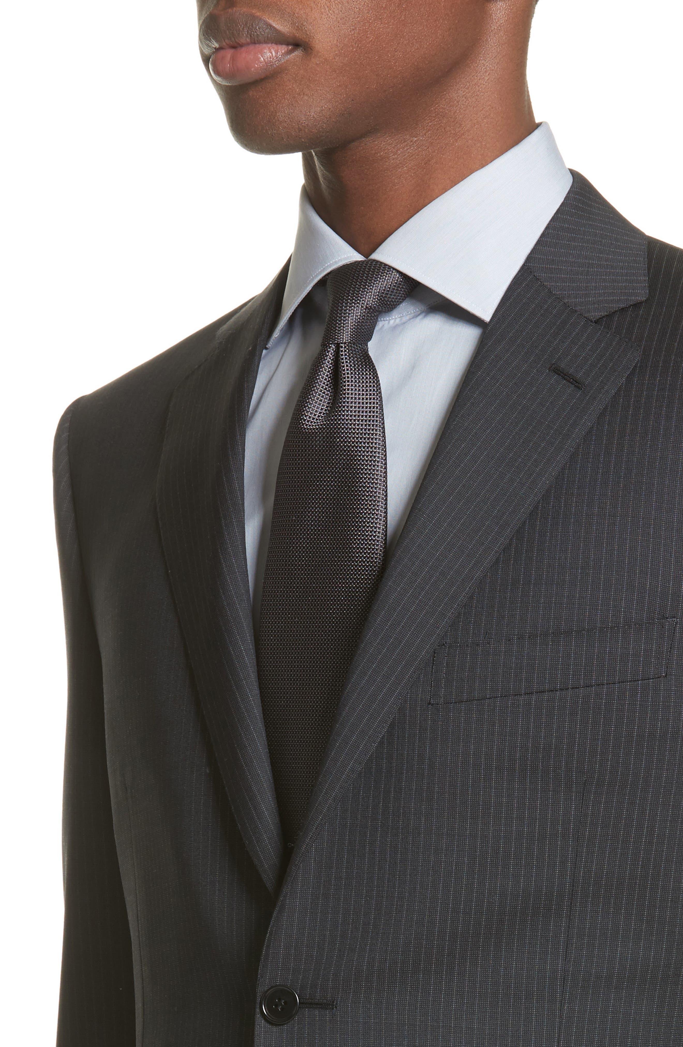 CANALI,                             Classic Fit Stripe Wool Suit,                             Alternate thumbnail 4, color,                             010