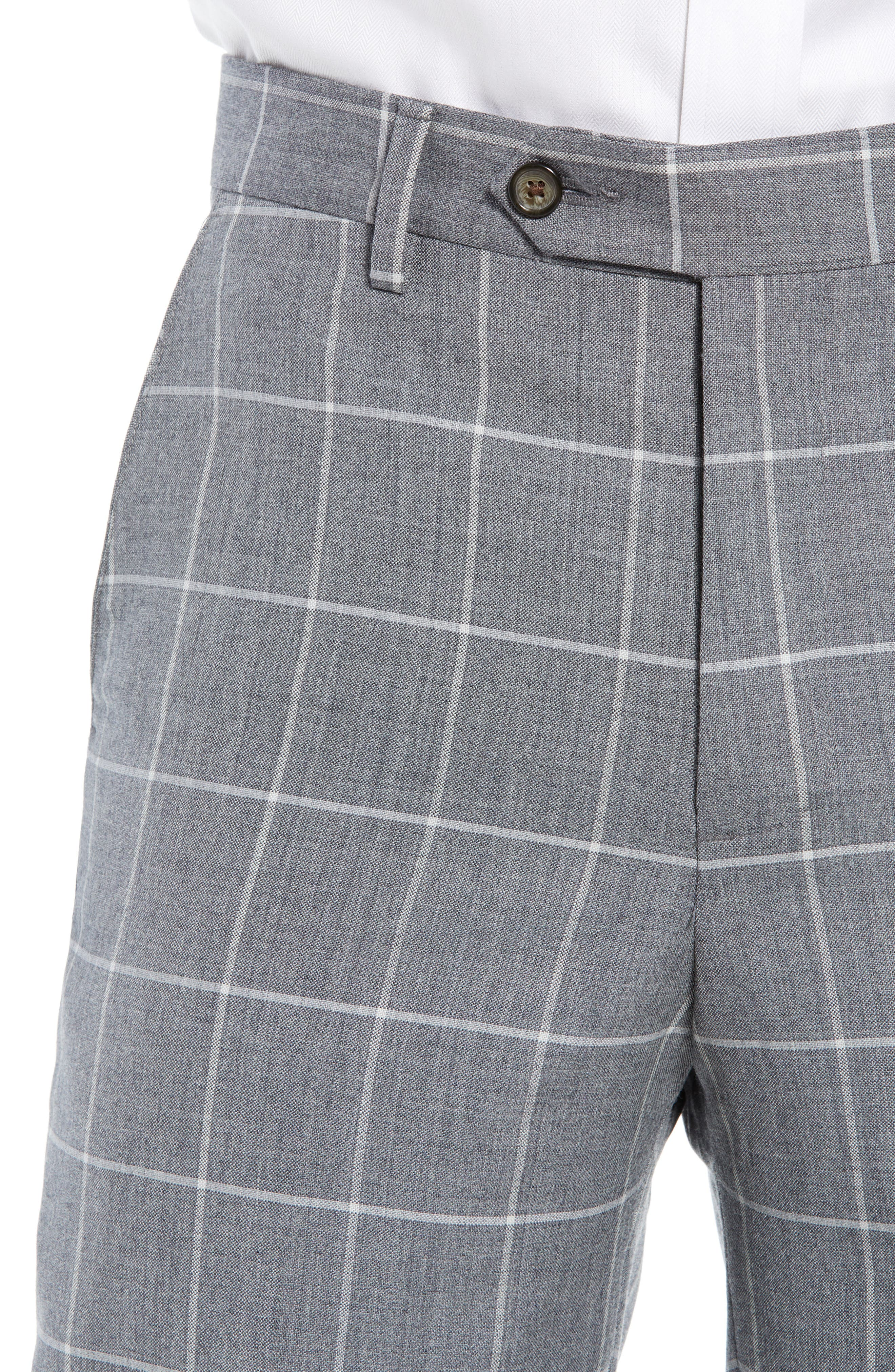 Manufacturing Flat Front Windowpane Wool Trousers,                             Alternate thumbnail 4, color,                             101