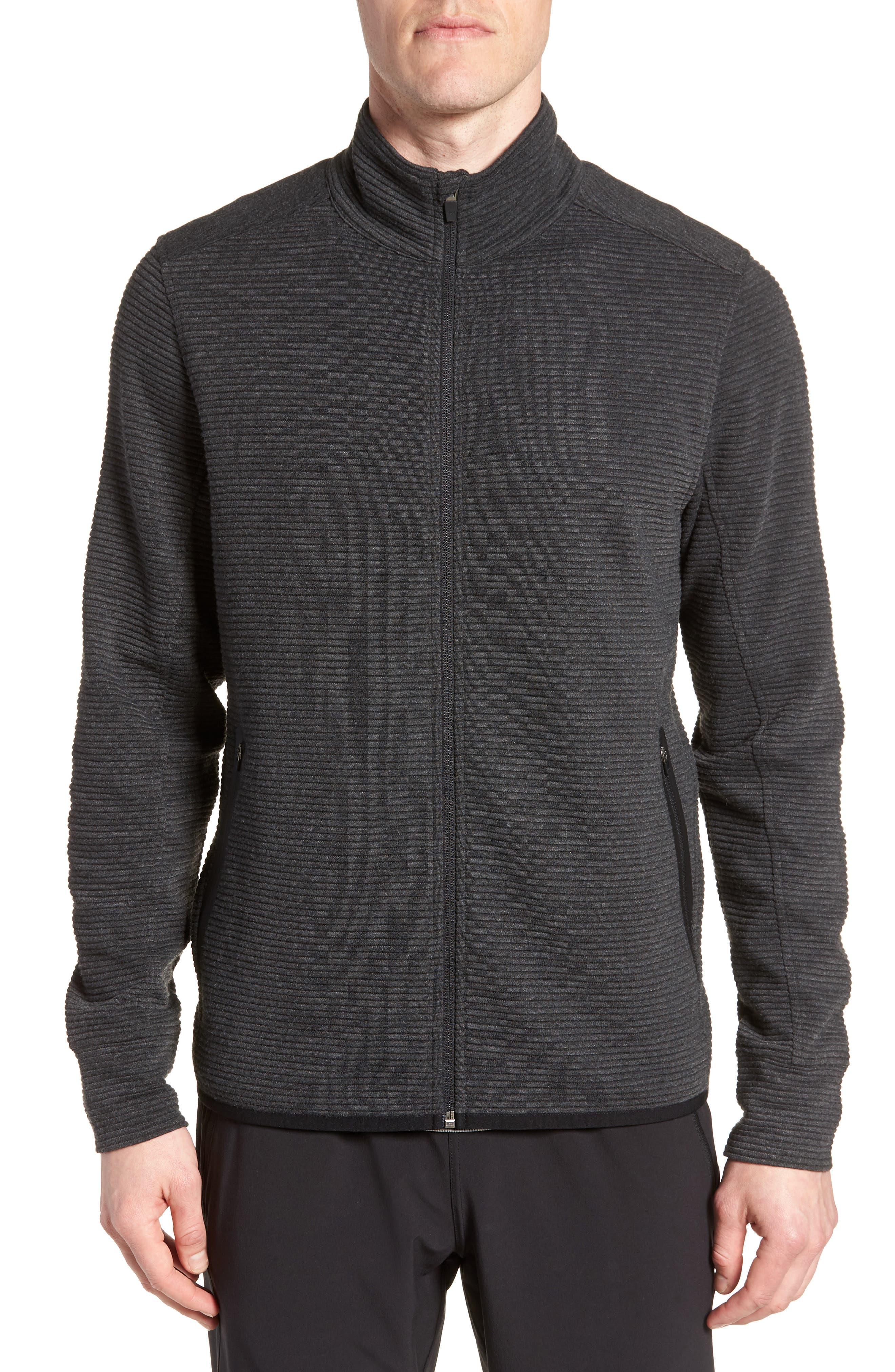 Taenite FZ High Neck Jacket,                         Main,                         color, BLACK OTTOMAN STRIPE