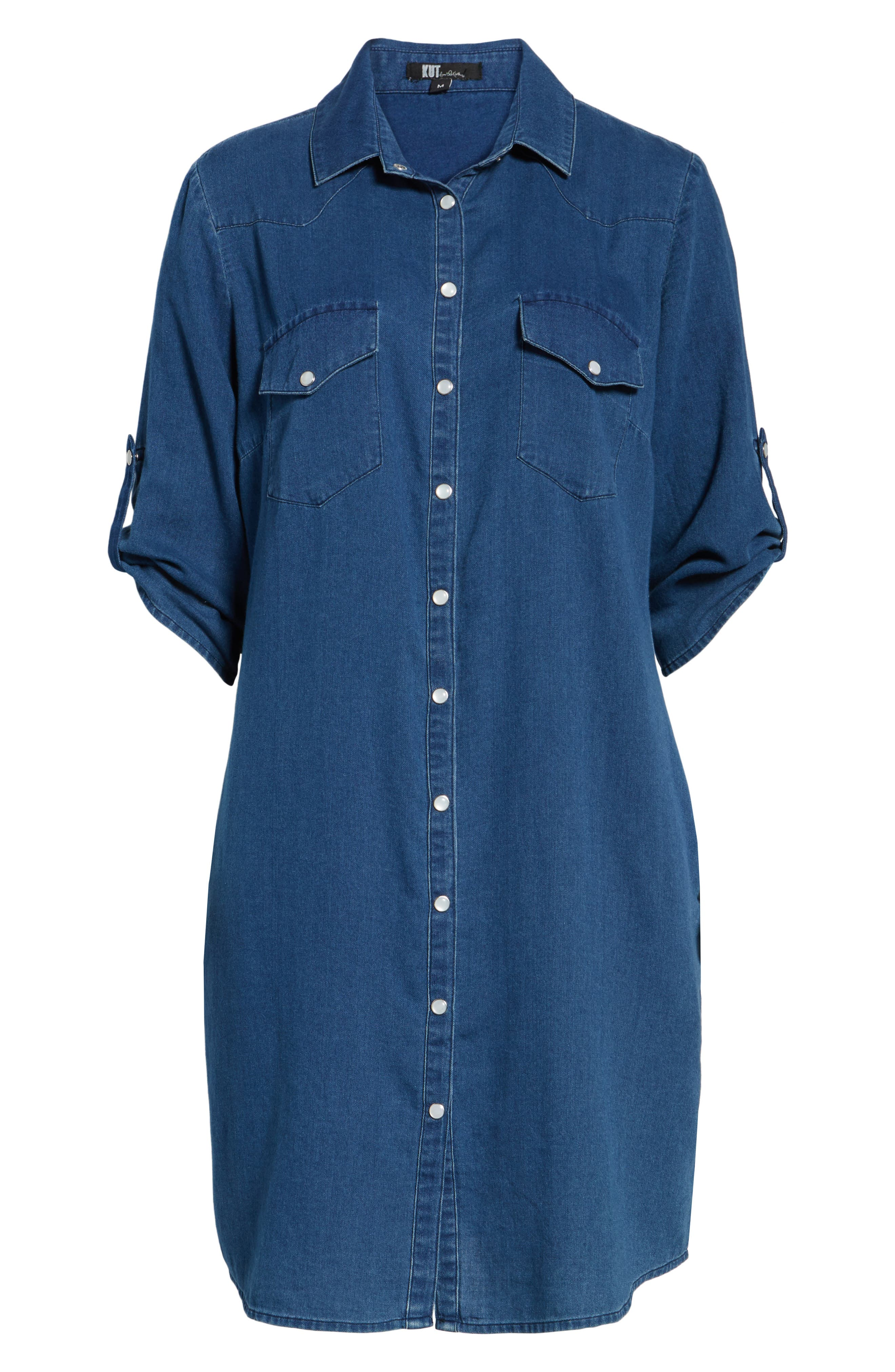 Denim Shirtdress,                             Alternate thumbnail 6, color,                             425