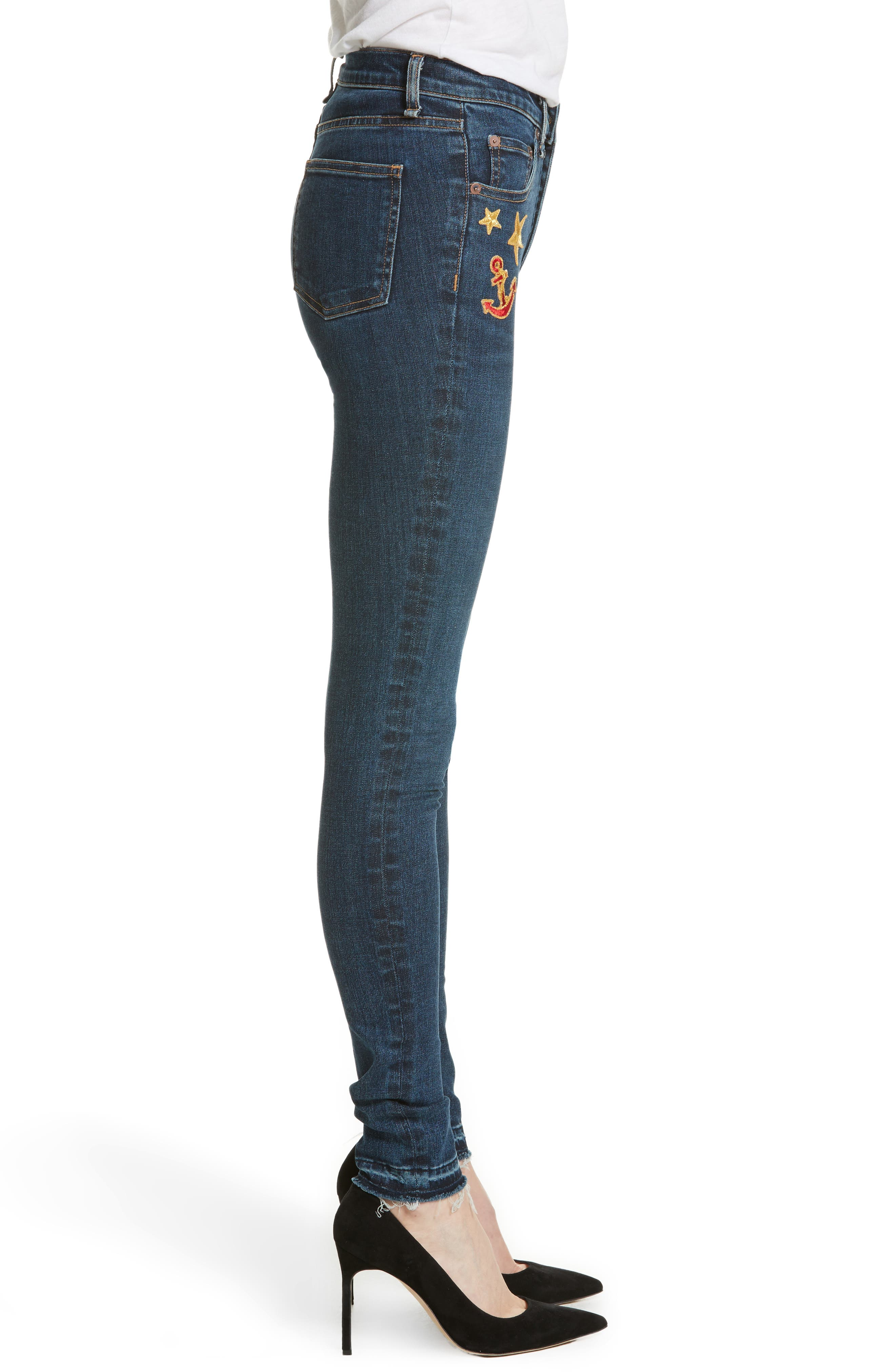 Kate Patch Skinny Jeans,                             Alternate thumbnail 3, color,                             440