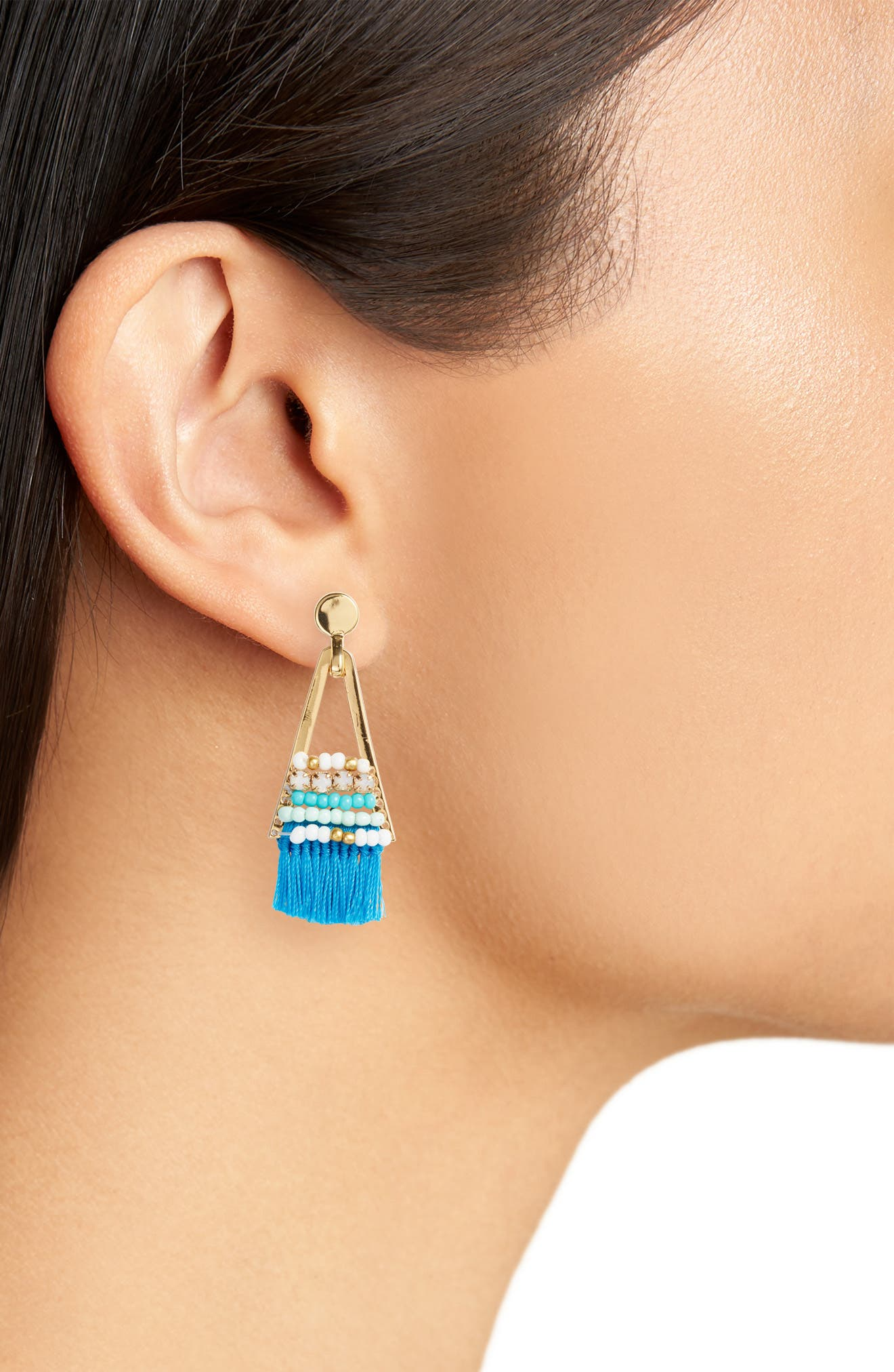 Geo Tassel Chandelier Earrings,                             Alternate thumbnail 4, color,