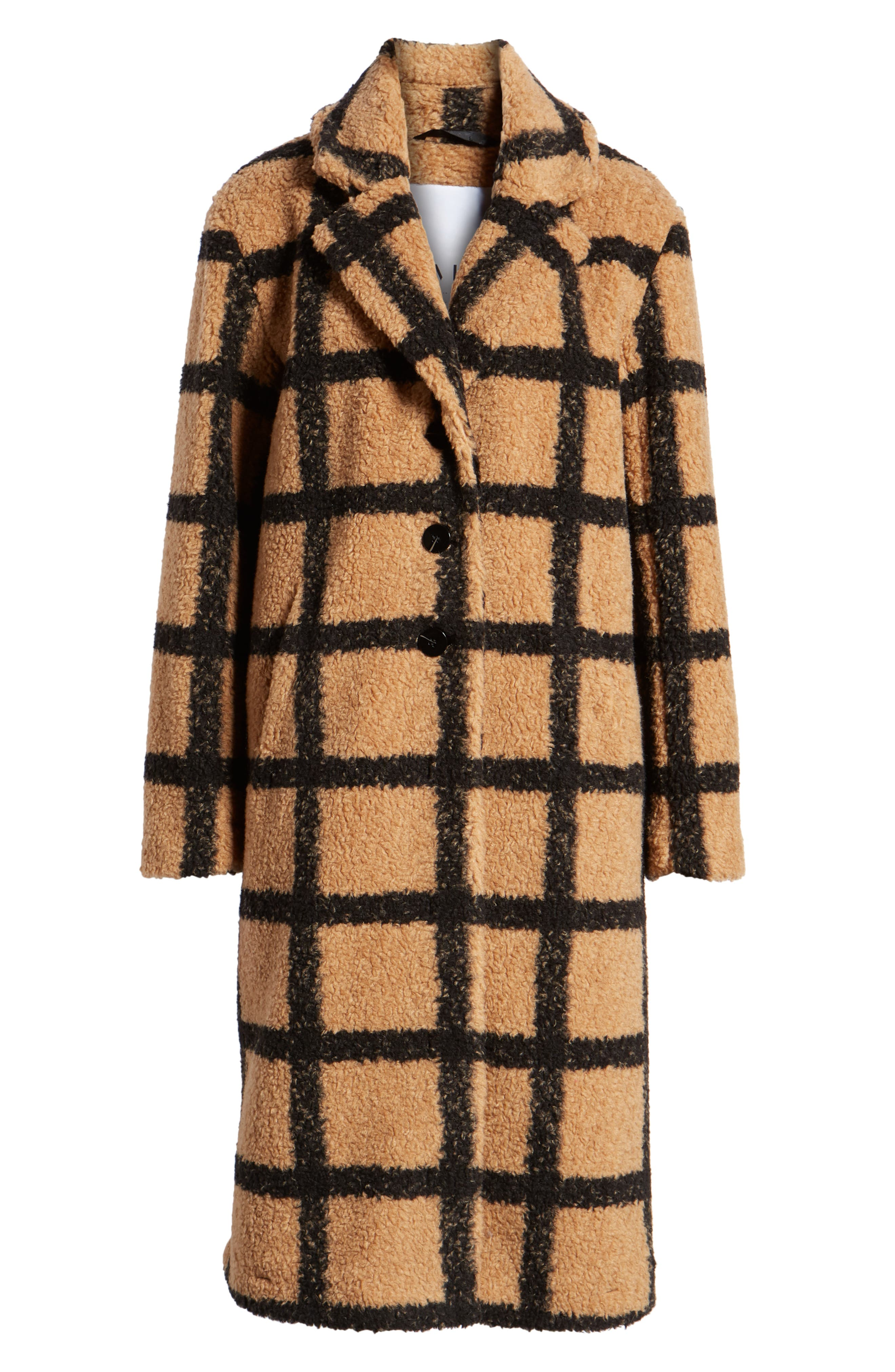 Berber Longline Plaid Coat,                             Alternate thumbnail 5, color,                             230