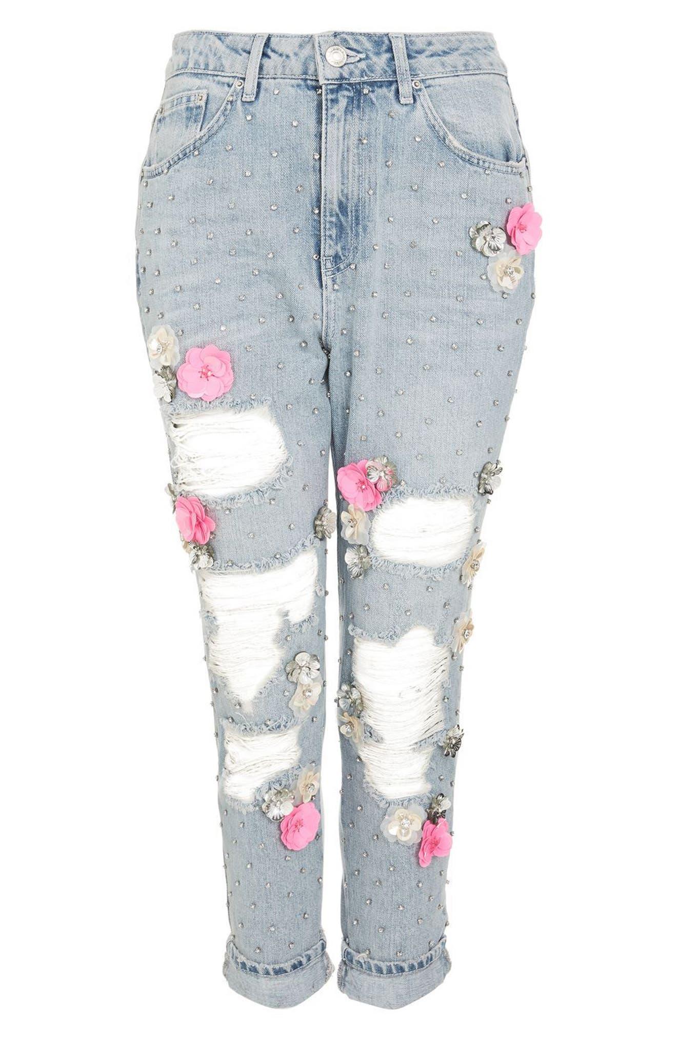 Bleach Floral Diamante Malibu Mom Jeans,                             Alternate thumbnail 5, color,
