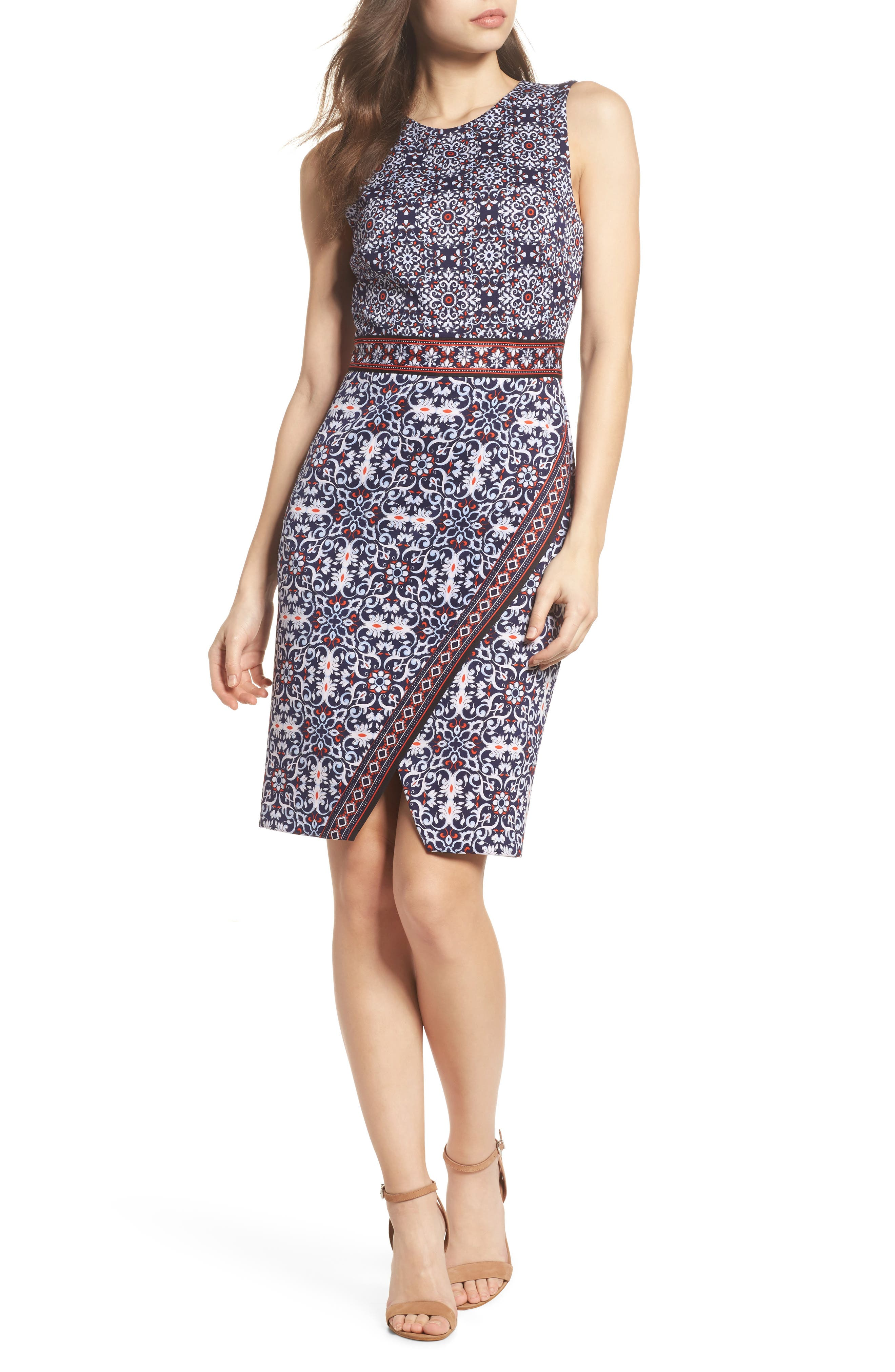 Printed Scissor Front Sleeveless Dress,                             Main thumbnail 1, color,                             490