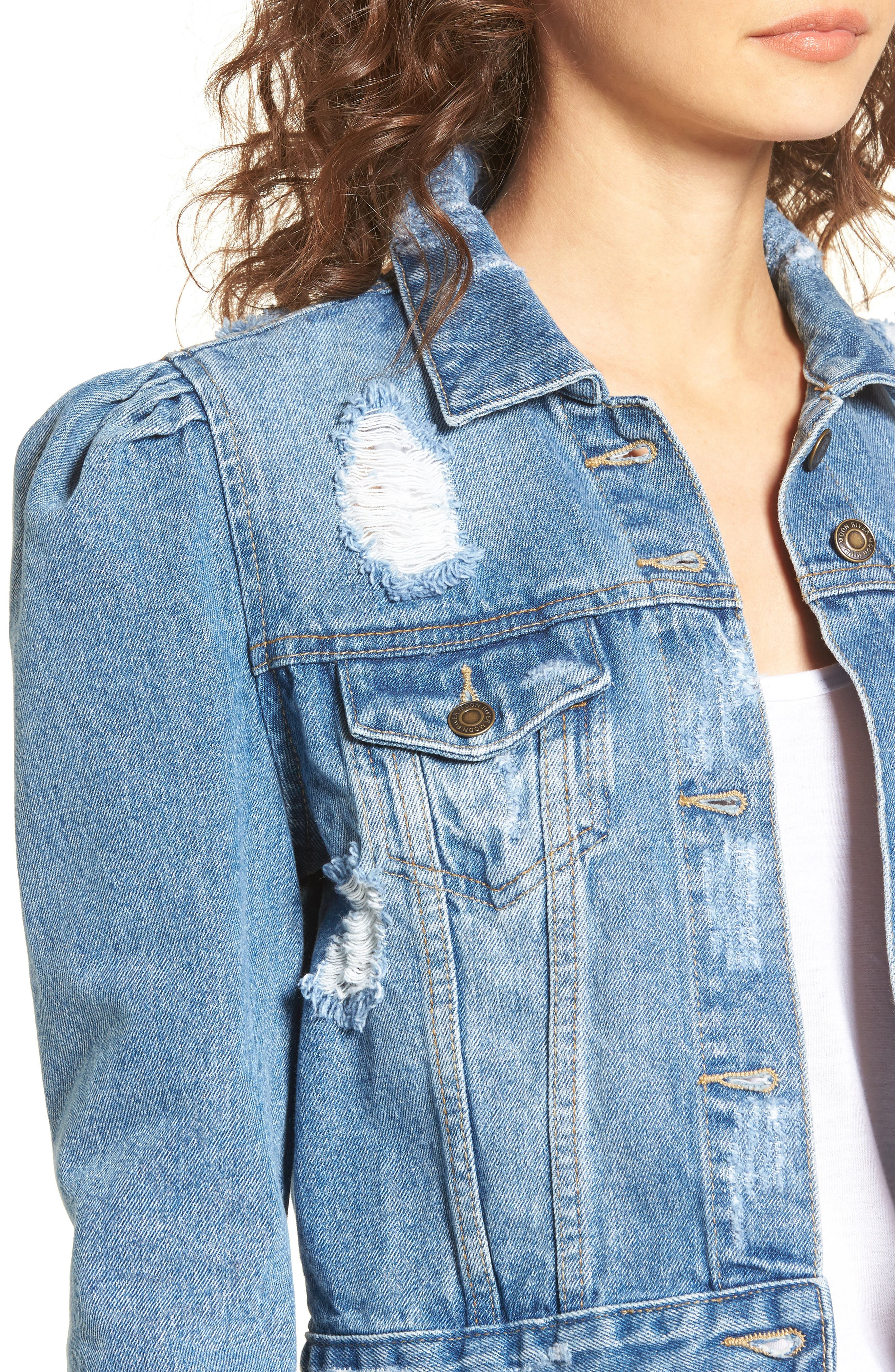 Distressed Denim Jacket,                             Alternate thumbnail 4, color,                             425