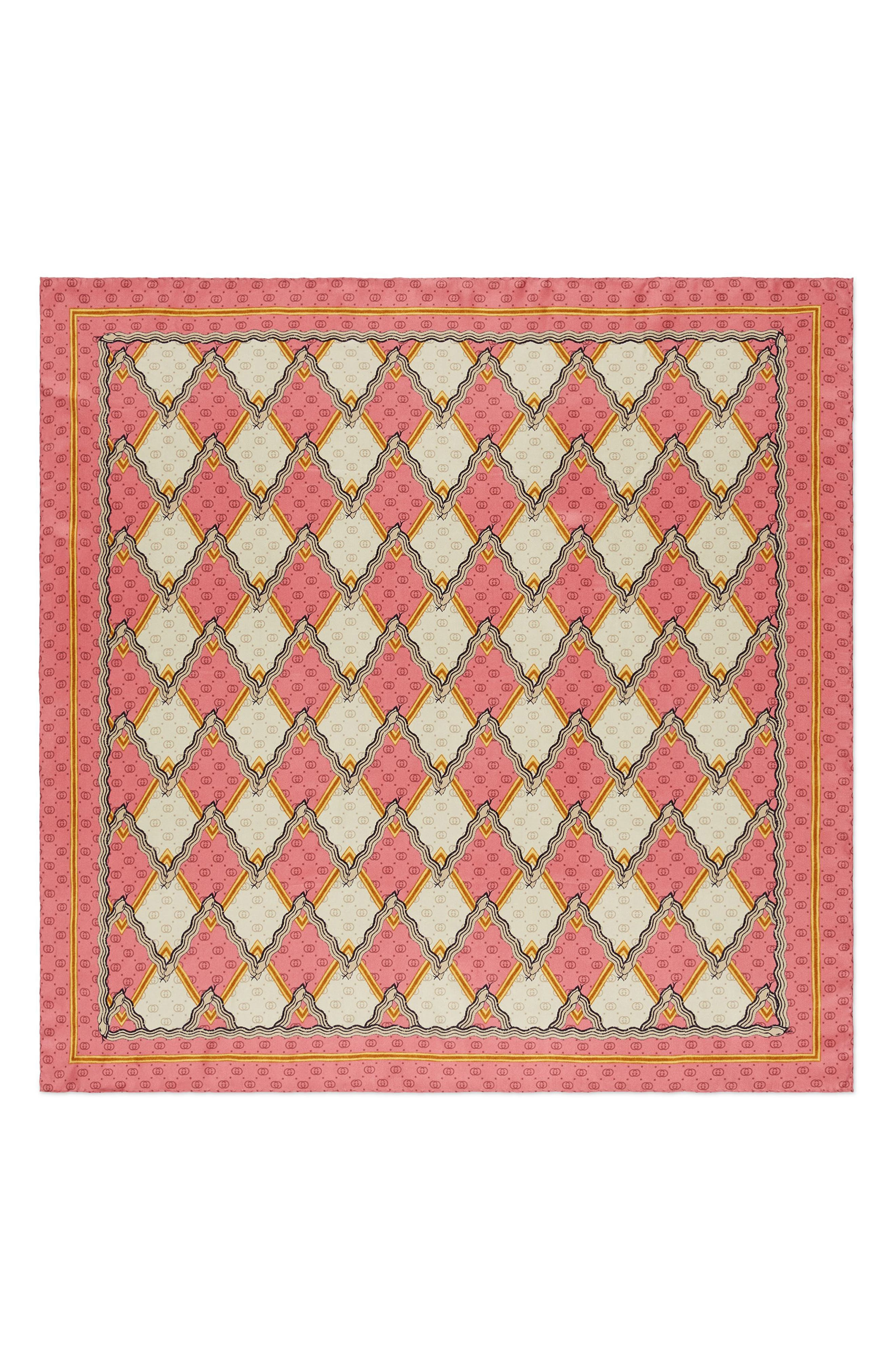 Snake Rhombus Square Silk Twill Scarf,                         Main,                         color, ROSEATE/ IVORY