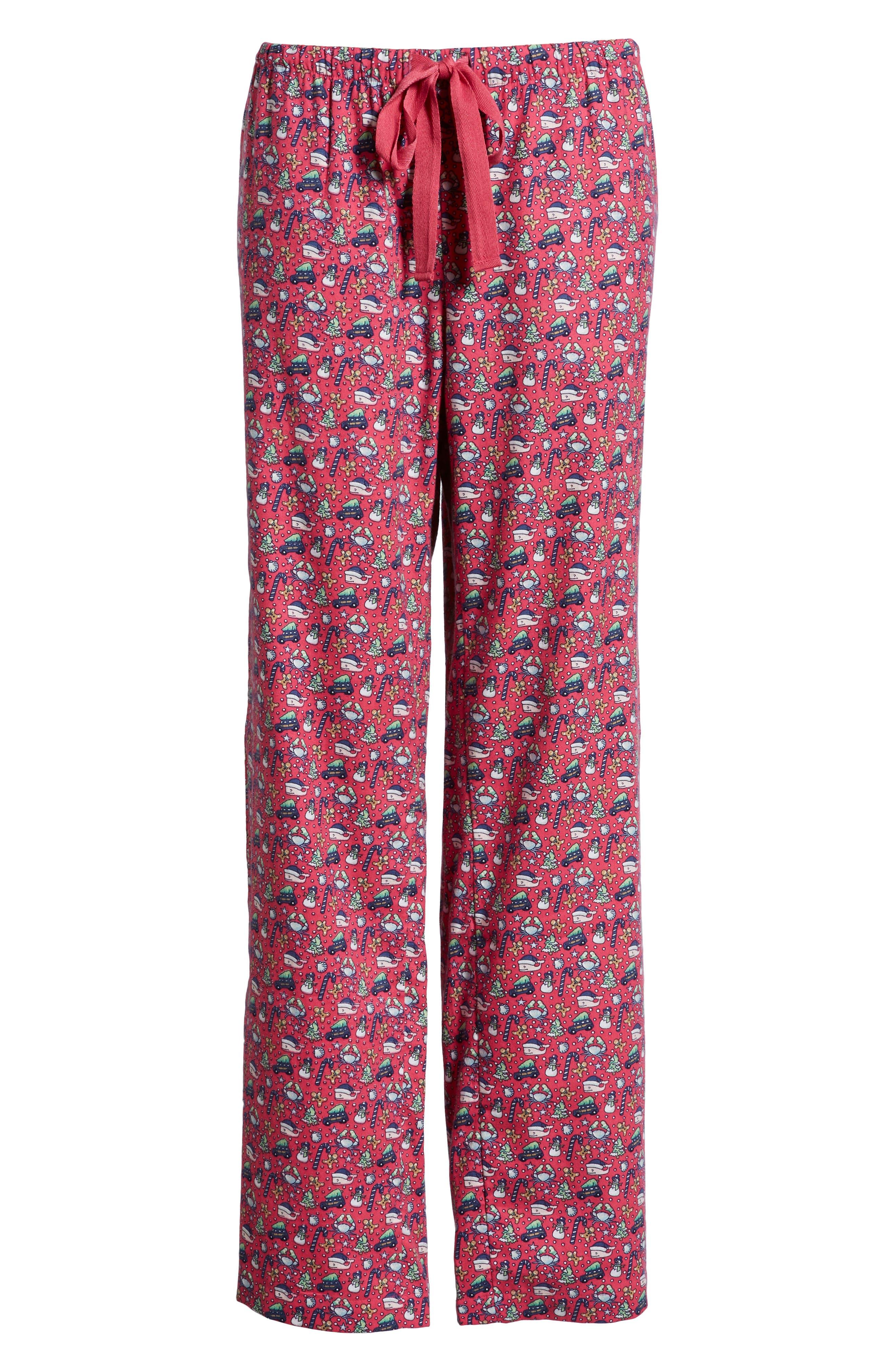 Holiday Print Lounge Pants,                             Alternate thumbnail 6, color,                             GOJI BERRY