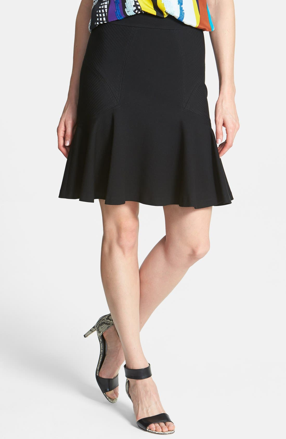'Carlita' Knit Flare Skirt,                             Main thumbnail 1, color,                             001