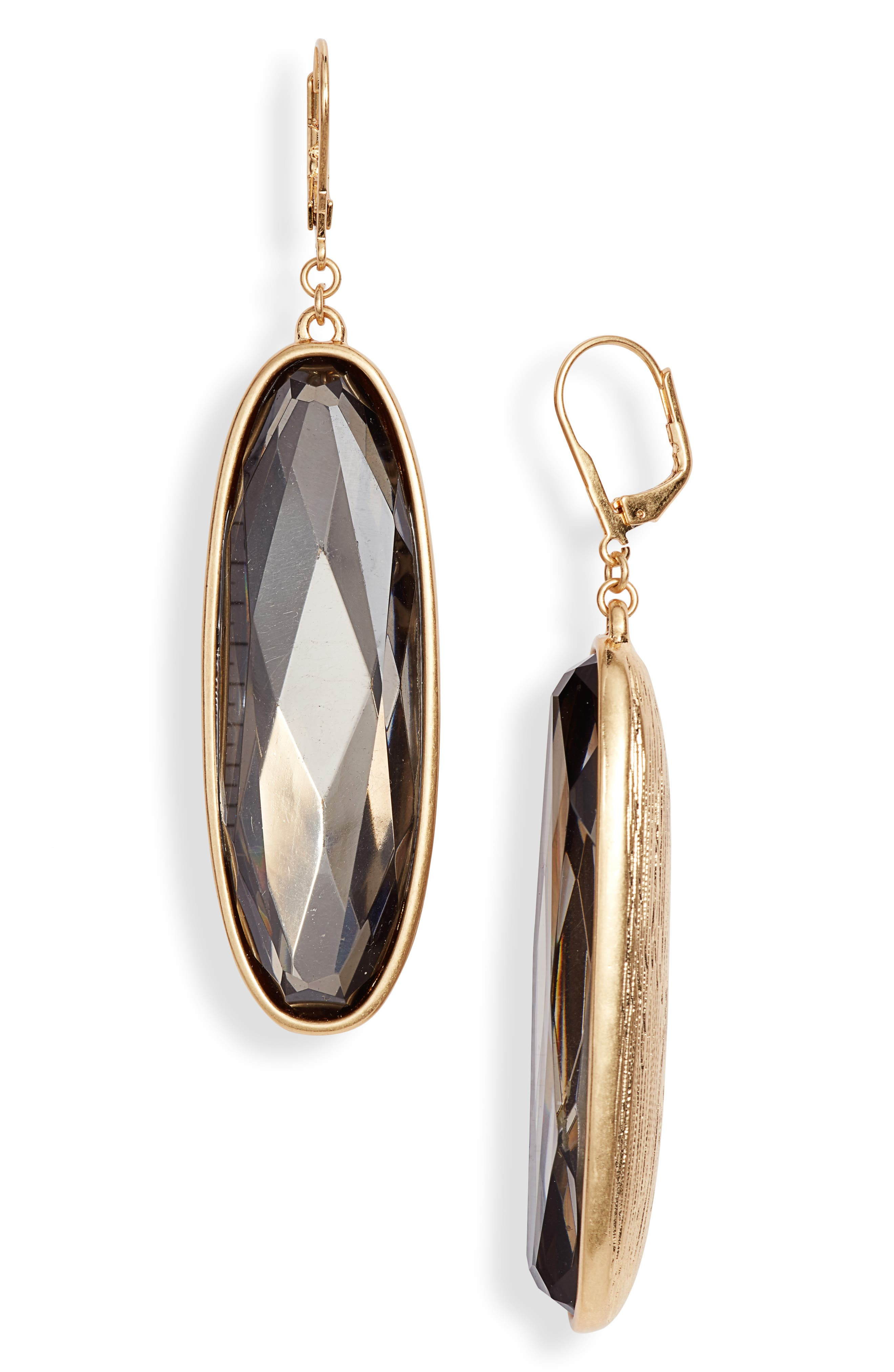 Statement Drop Earrings,                             Main thumbnail 1, color,                             GOLD/ GREIGE CRYSTAL