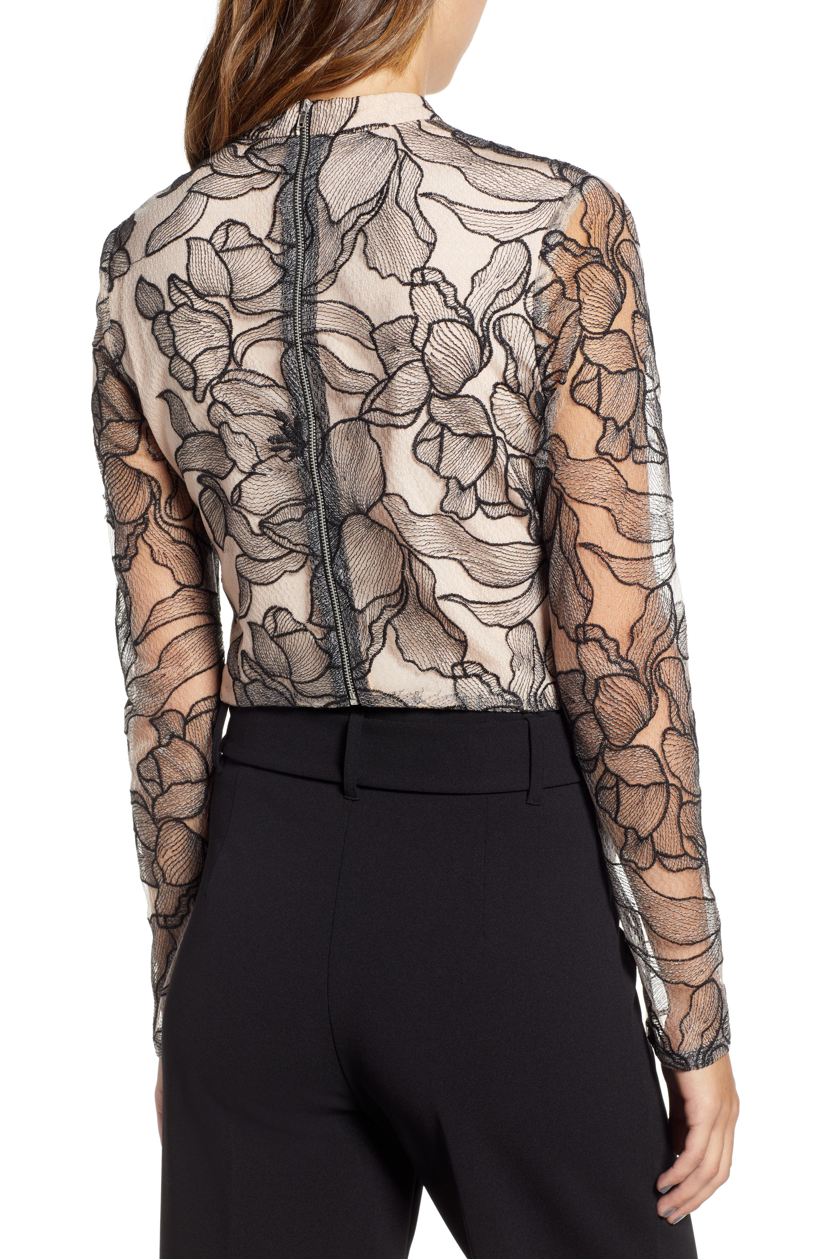 Mina Cropped Lace Top,                             Alternate thumbnail 2, color,                             BLACK NUDE LACE