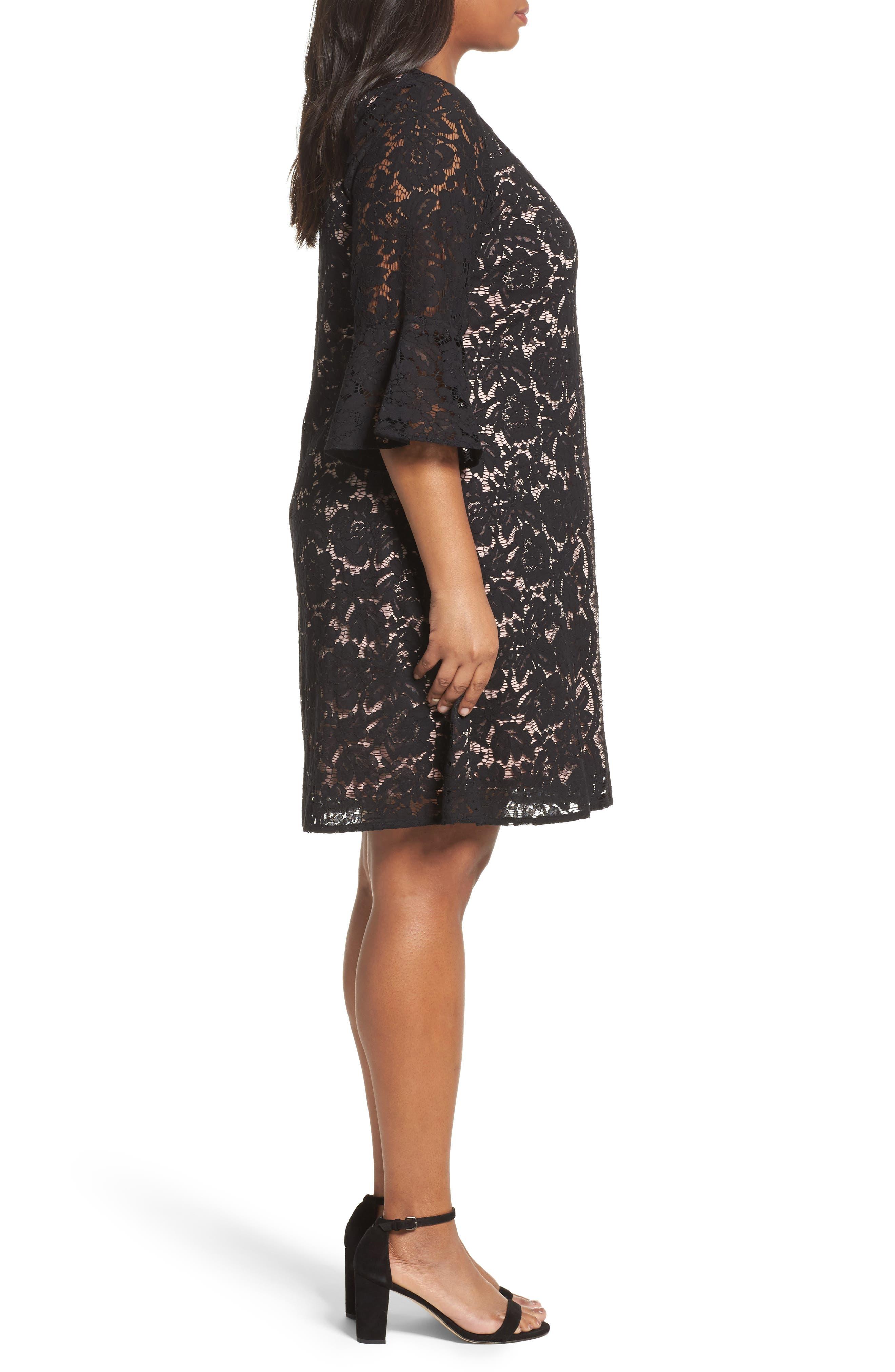 Lace A-Line Dress,                             Alternate thumbnail 3, color,                             001
